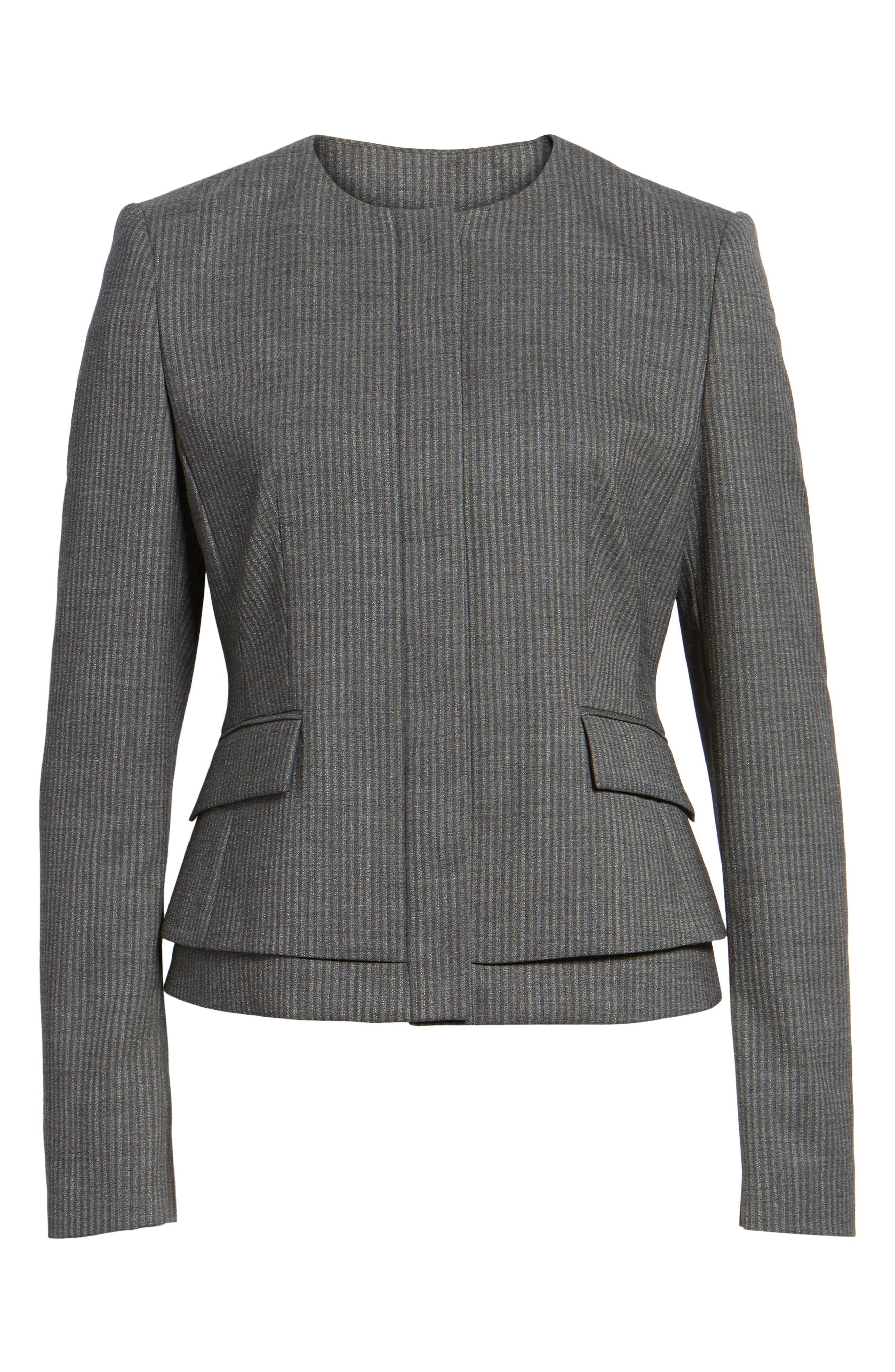Jasyma Stripe Wool Suit Jacket,                             Alternate thumbnail 6, color,                             Dark Grey Fantasy