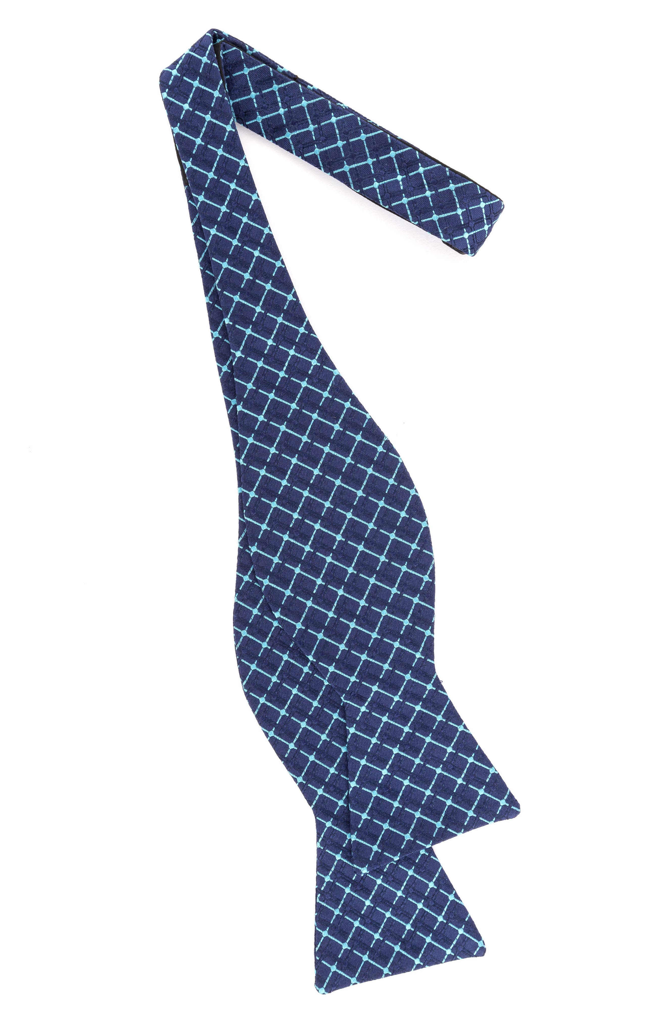 Superb Check Silk Bow Tie,                             Alternate thumbnail 2, color,                             Aqua