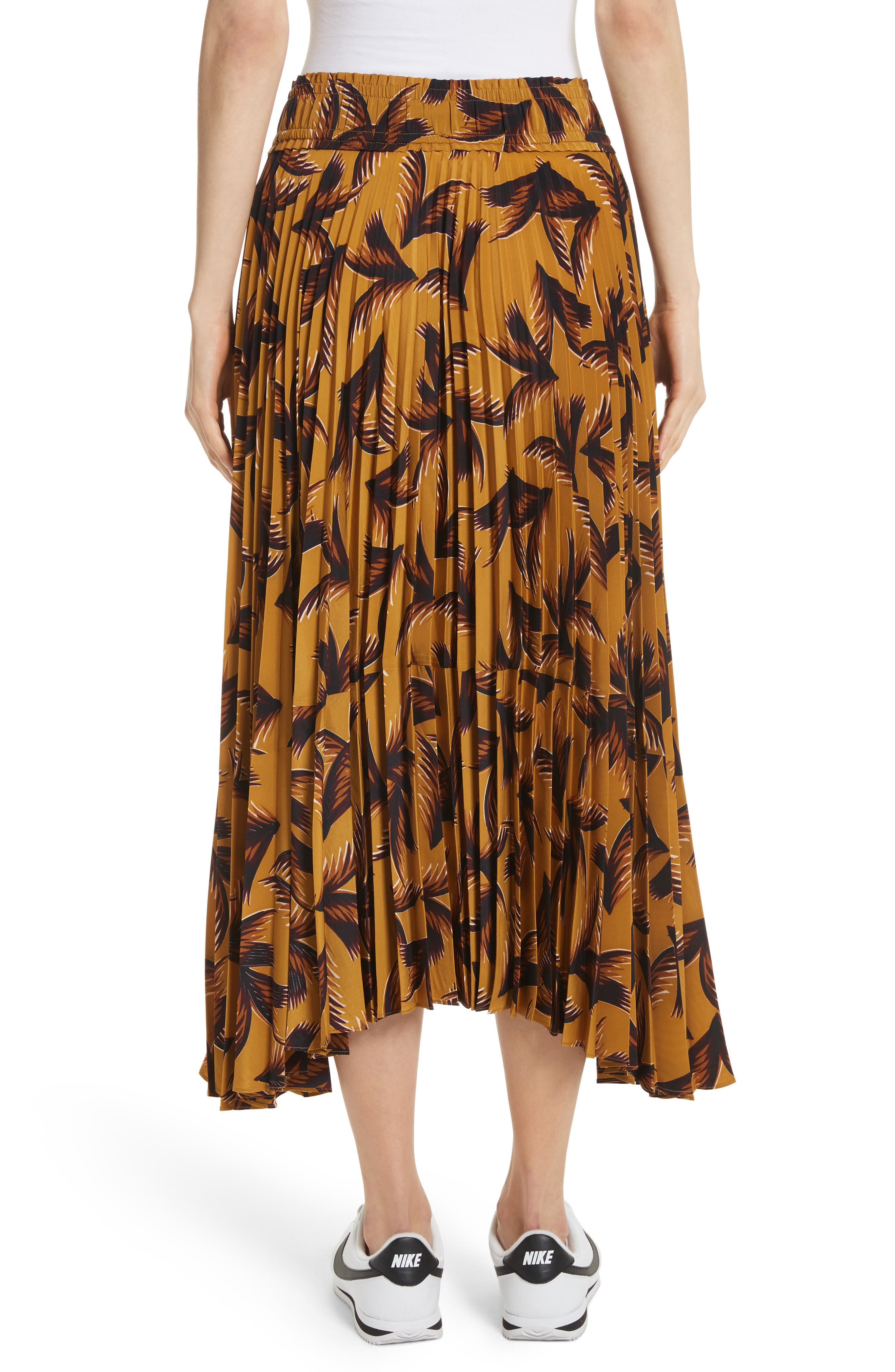Maya Pleated A-Line Skirt,                             Alternate thumbnail 3, color,                             Gold