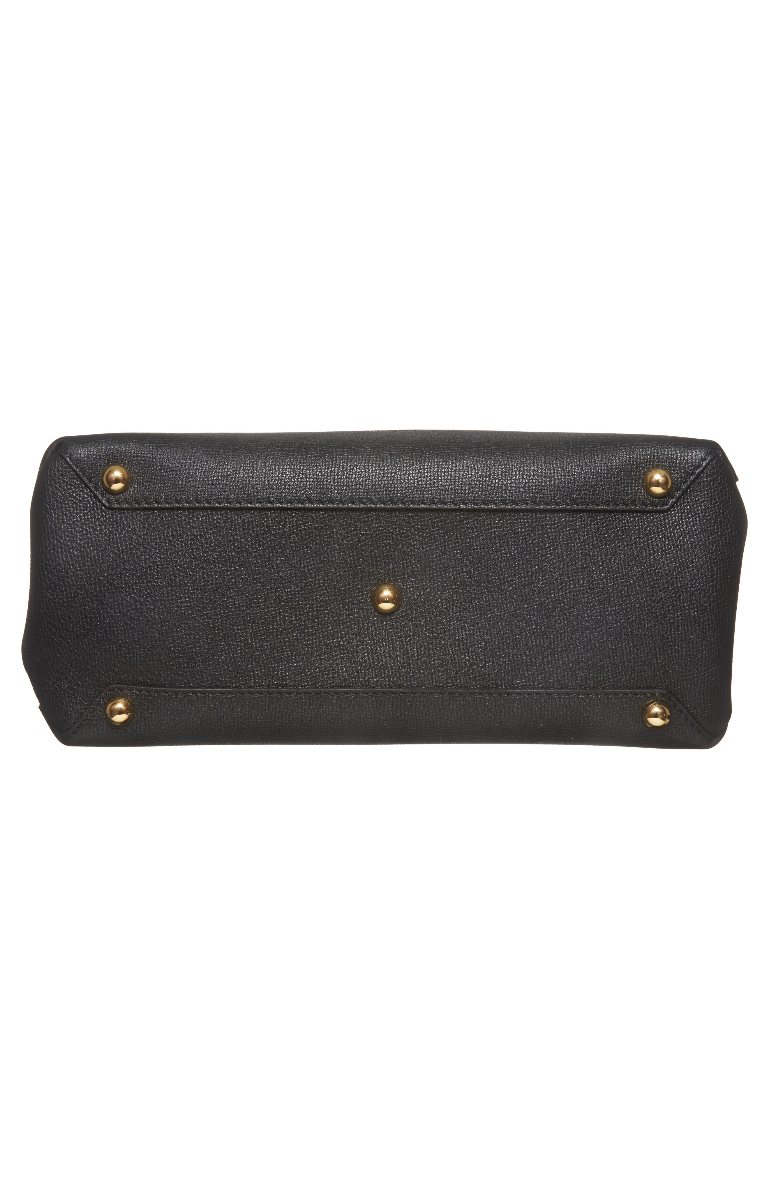 Medium Camberley Leather & House Check Top Handle Satchel,                             Alternate thumbnail 6, color,                             Black