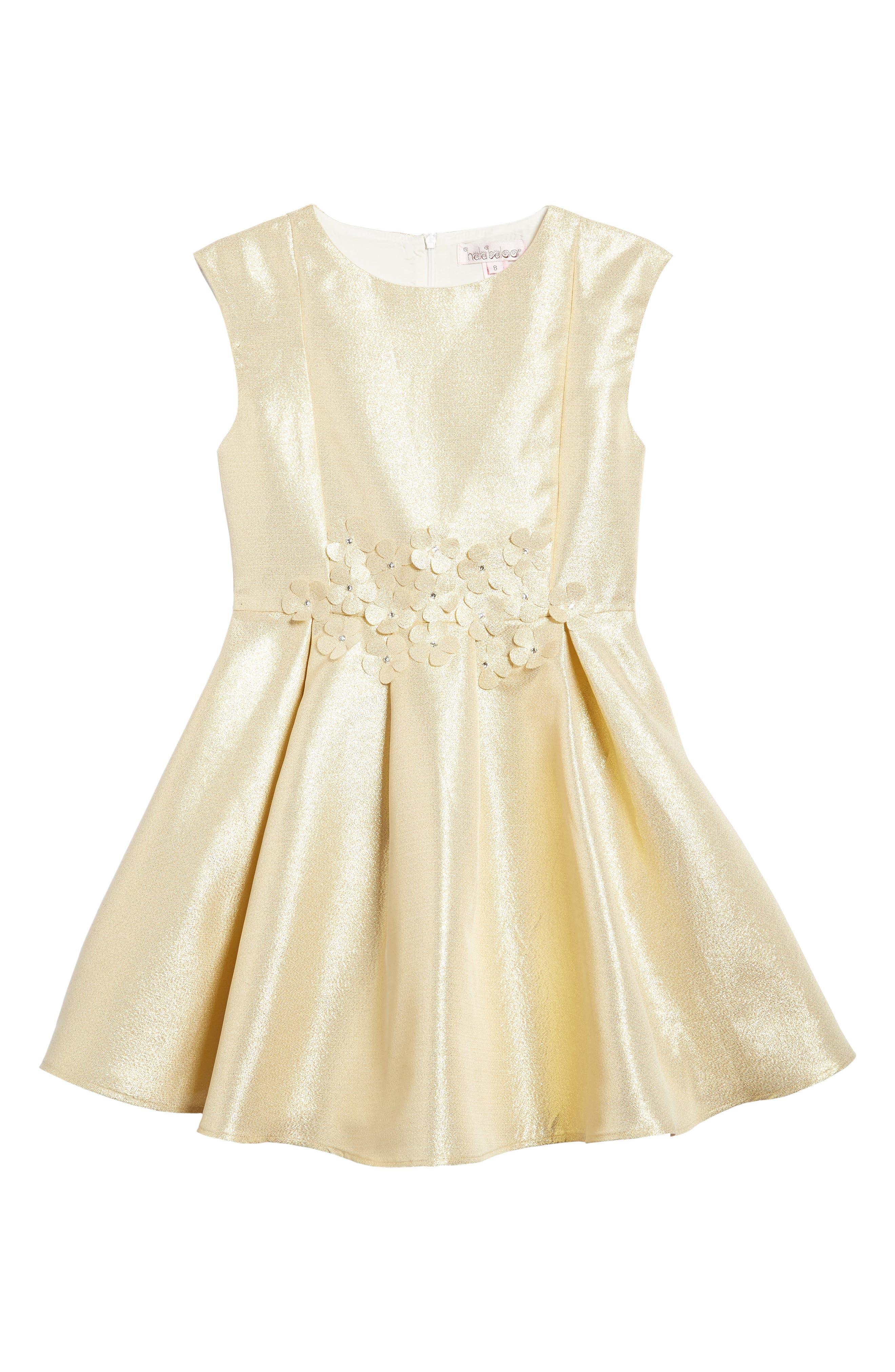 Halabaloo Crystal Bouquet Fit & Flare Dress (Toddler Girls, Little Girls & Big Girls)