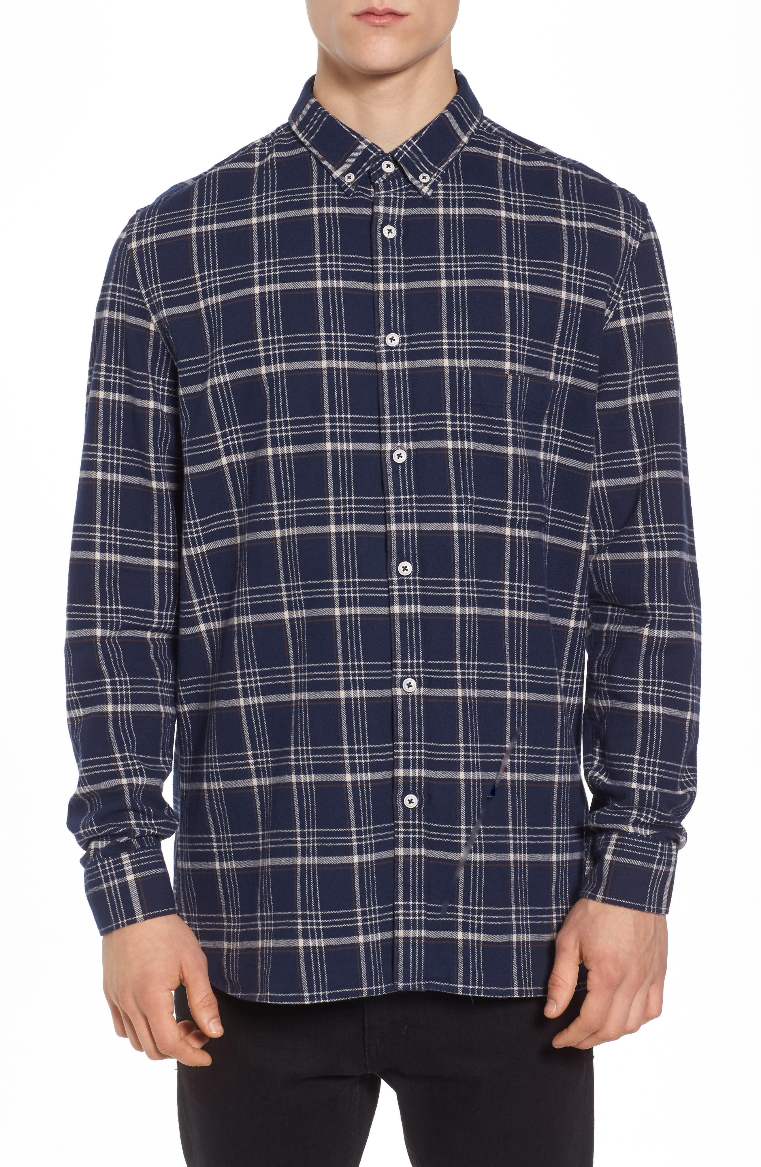 Cabin Plaid Shirt,                         Main,                         color, Navy Plaid
