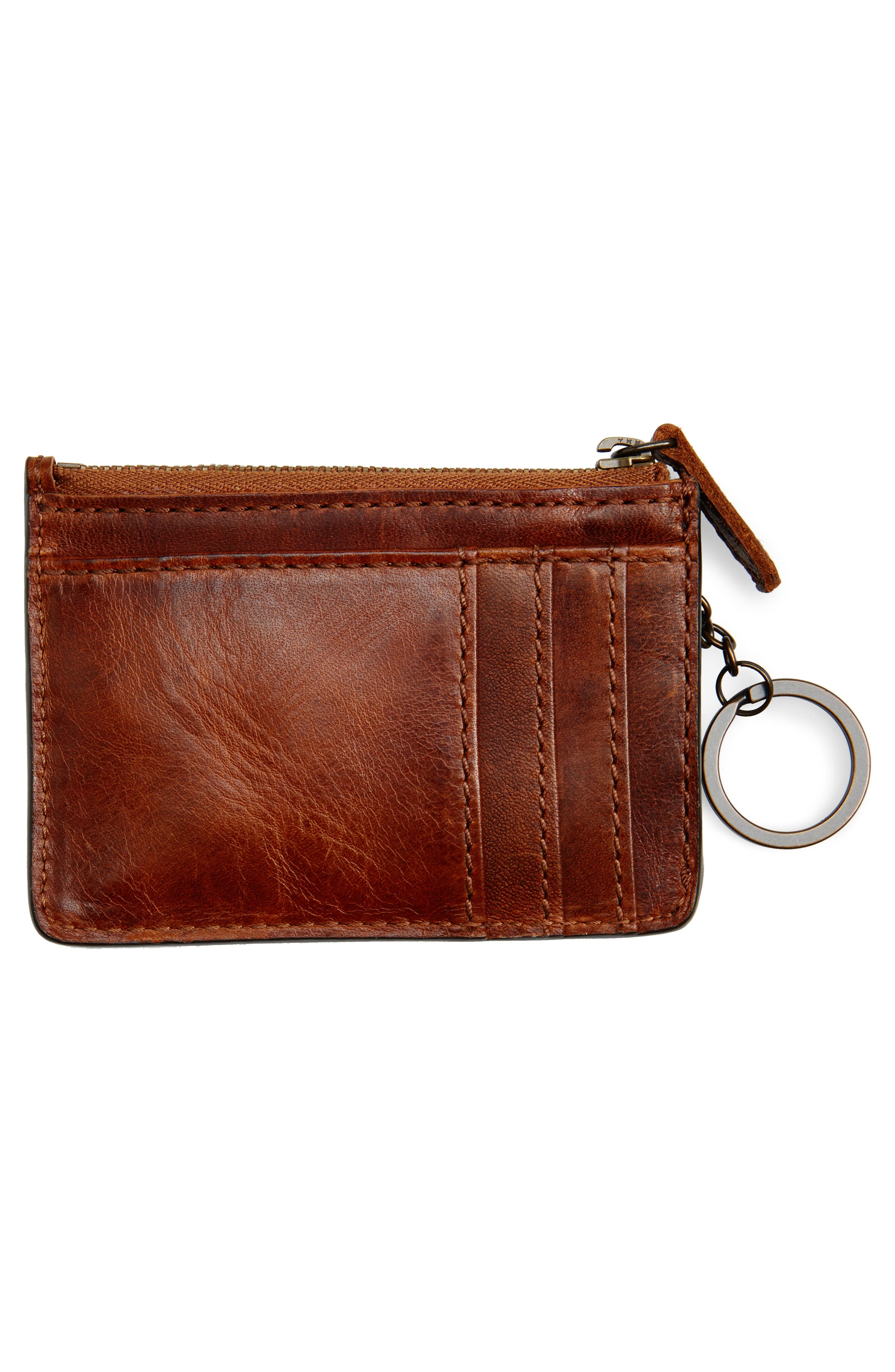 Melissa Leather Card Holder with Key Ring,                             Alternate thumbnail 2, color,                             Cognac