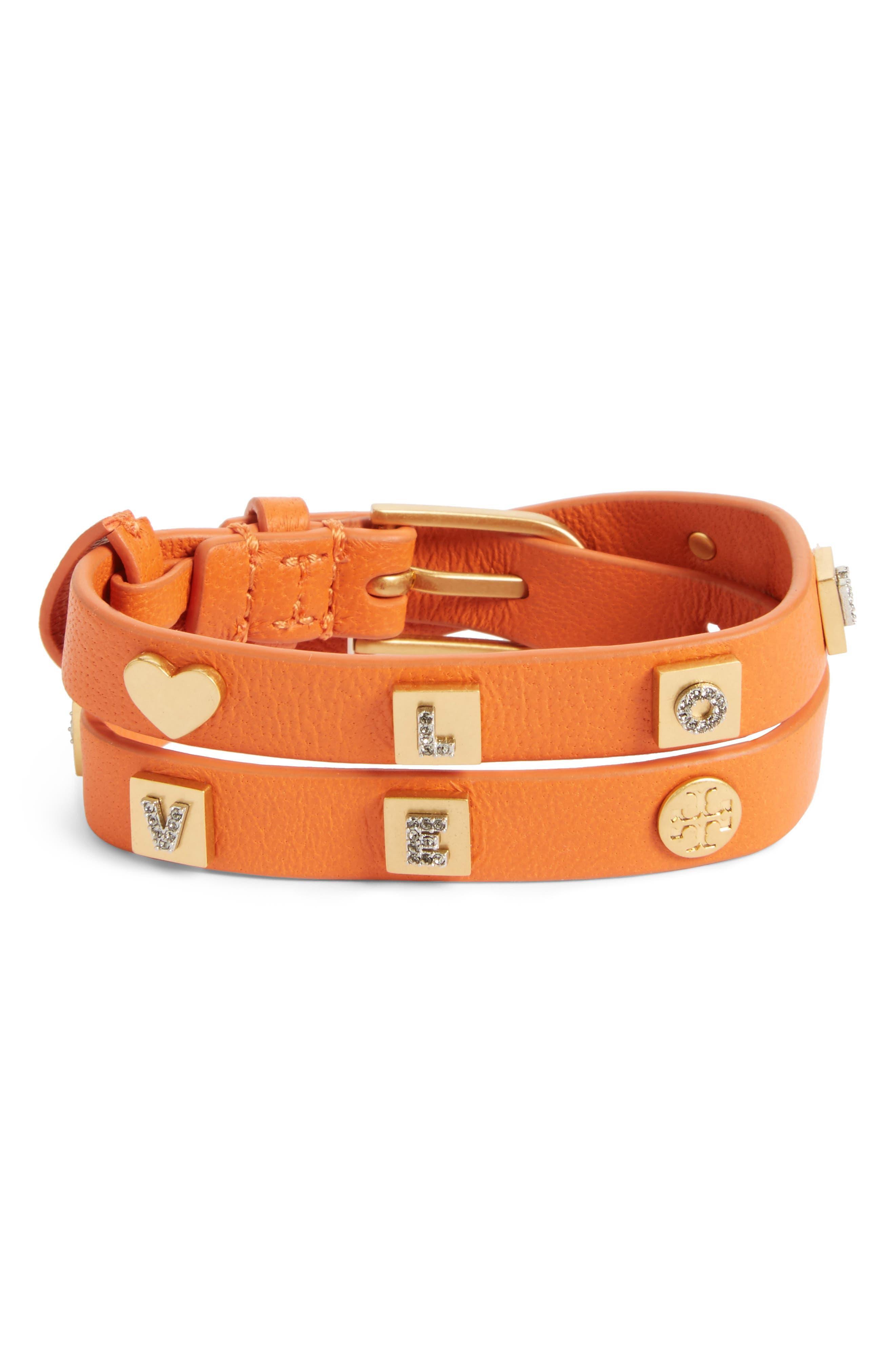 Message Double Wrap Bracelet,                         Main,                         color, Tuscan Wine/ Vintage Gold