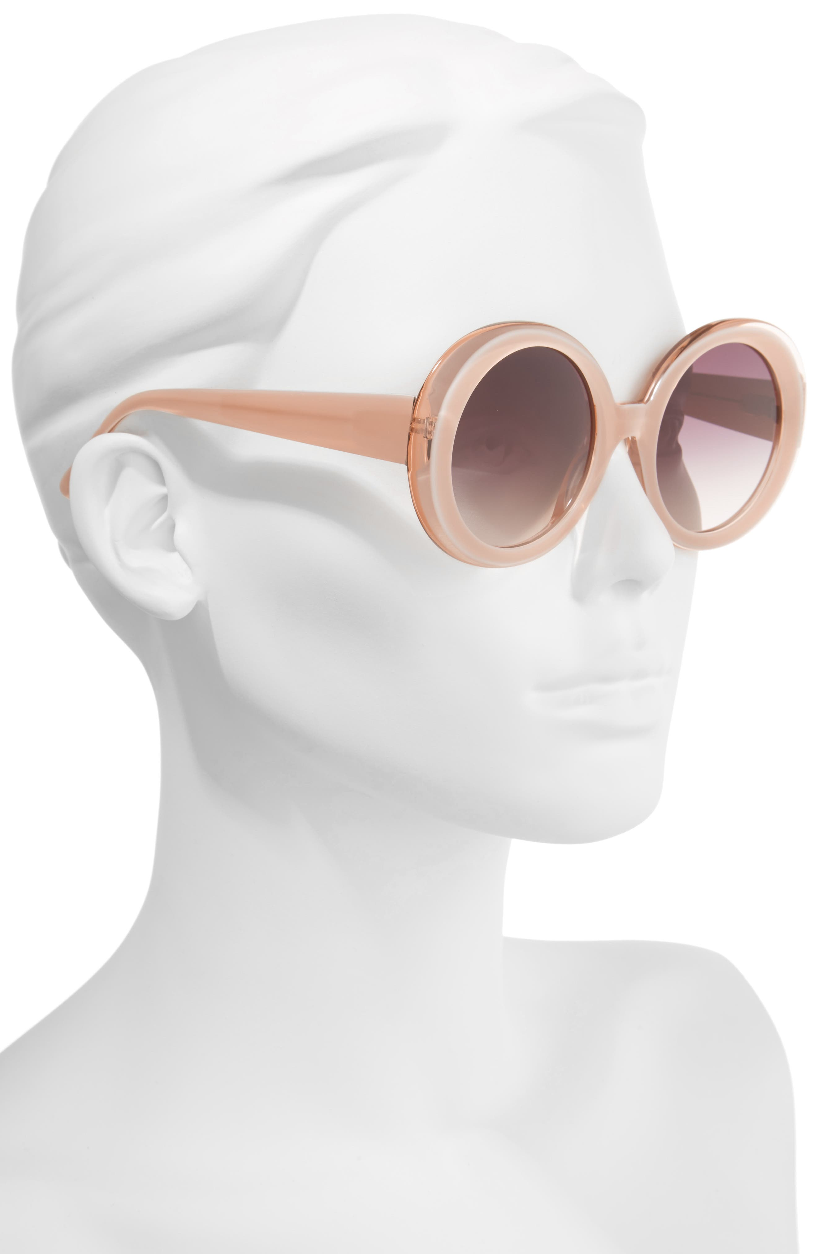 Mulholland 52mm Round Gradient Sunglasses,                             Alternate thumbnail 2, color,                             Blush