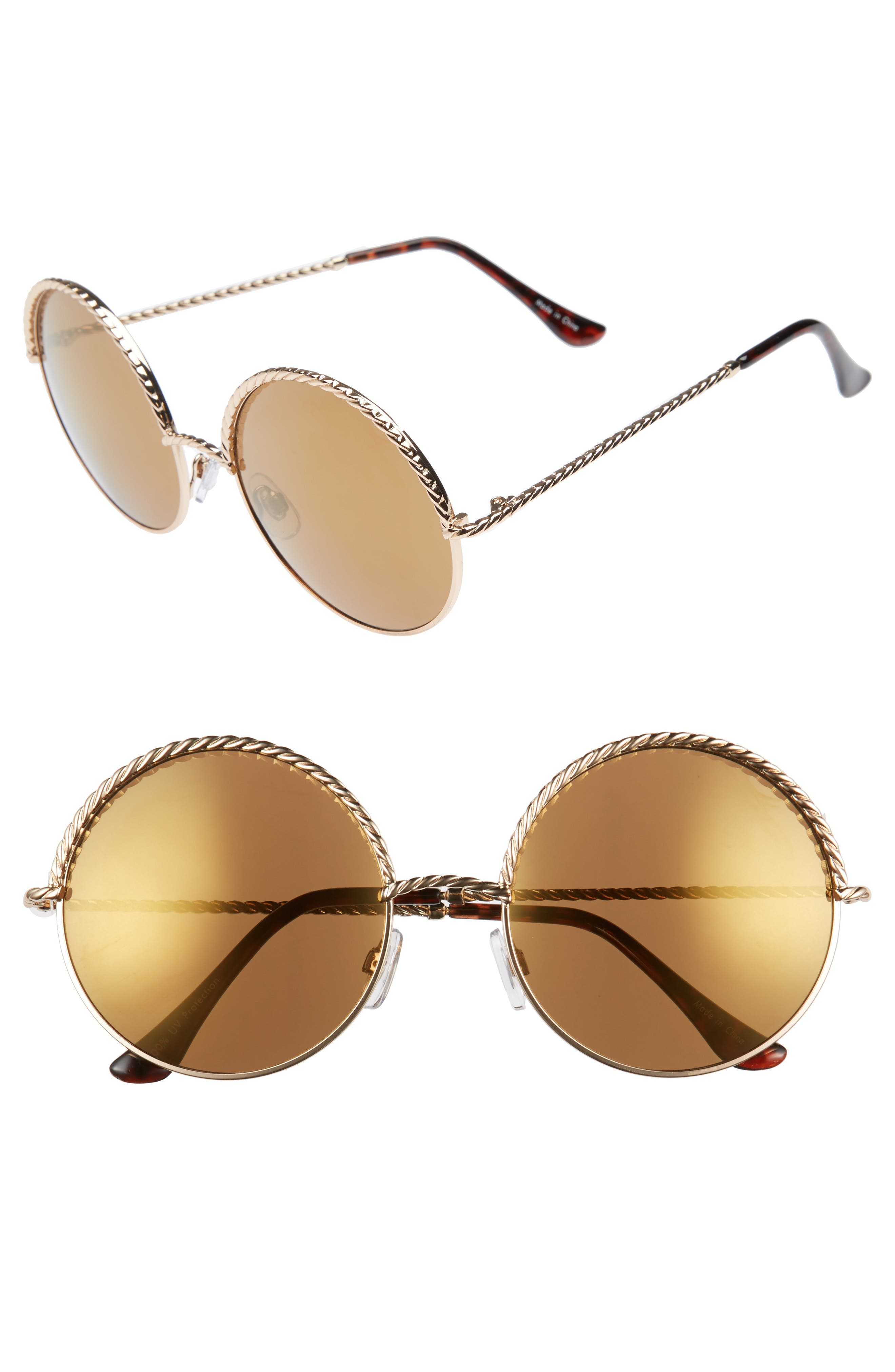 58mm Chain Trim Round Sunglasses,                         Main,                         color, Gold/ Brown
