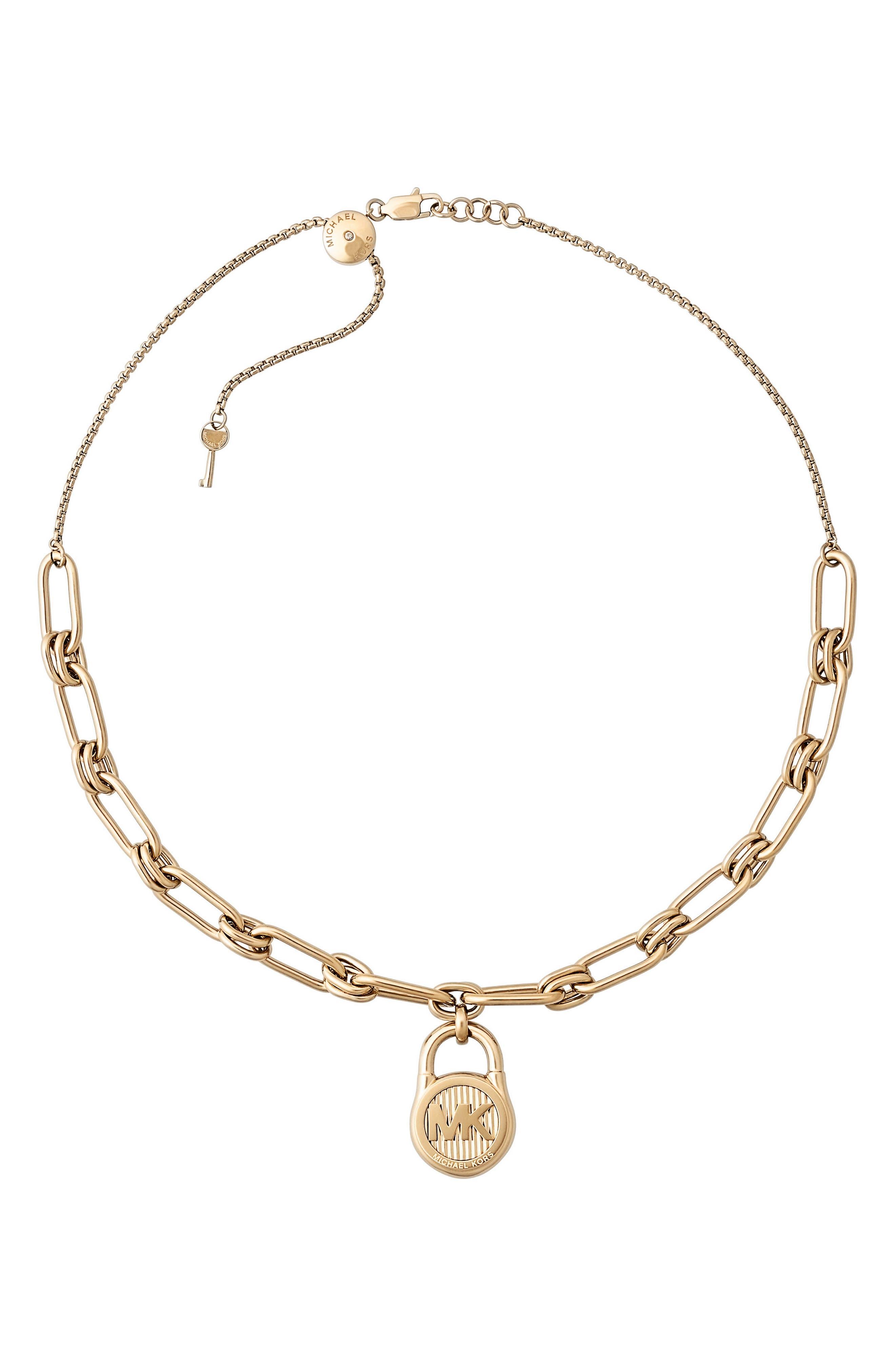Padlock Pendant Necklace,                             Alternate thumbnail 3, color,                             Gold