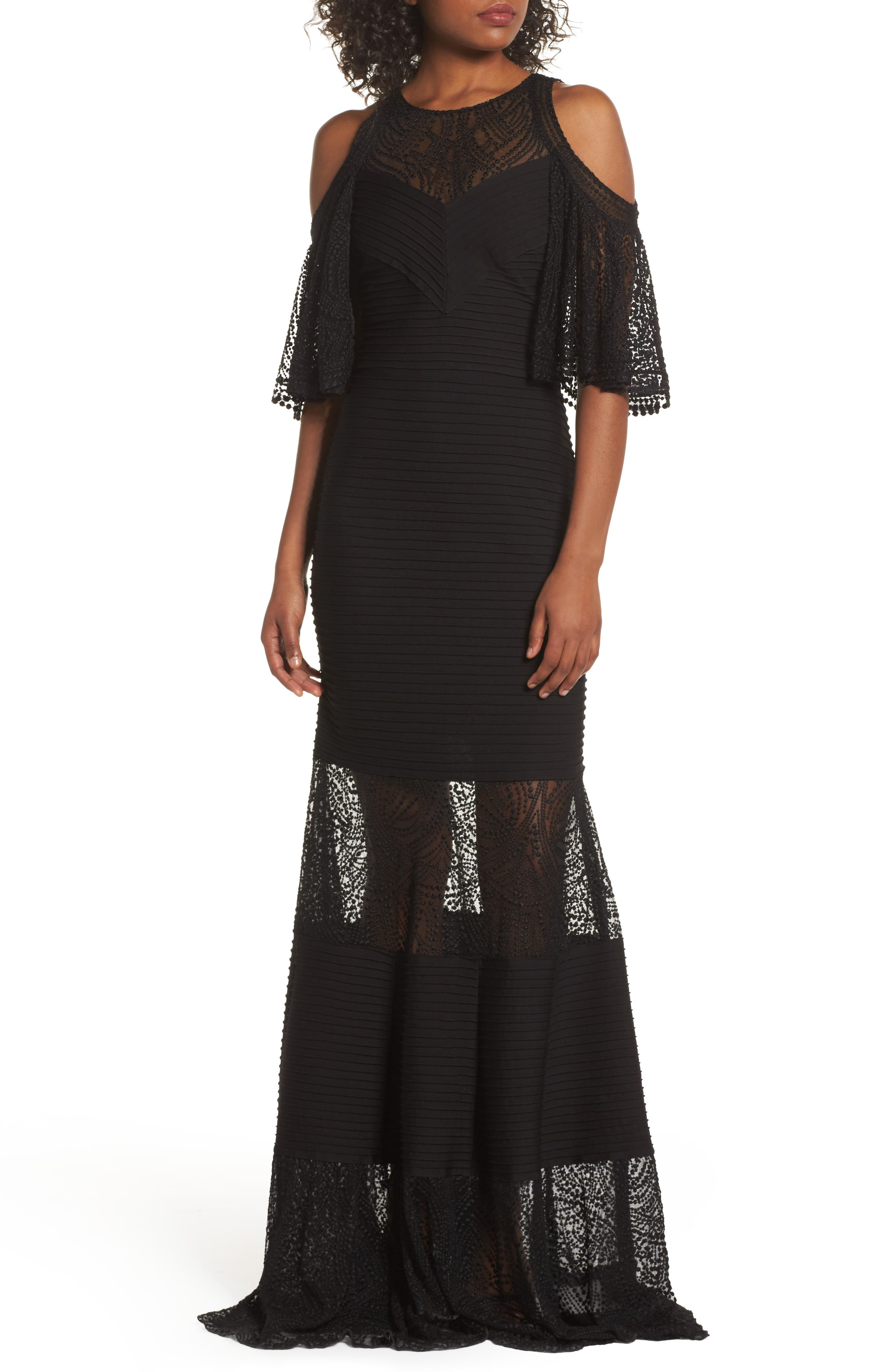 Embroidered Pintuck Cold Shoulder Gown,                         Main,                         color, Black