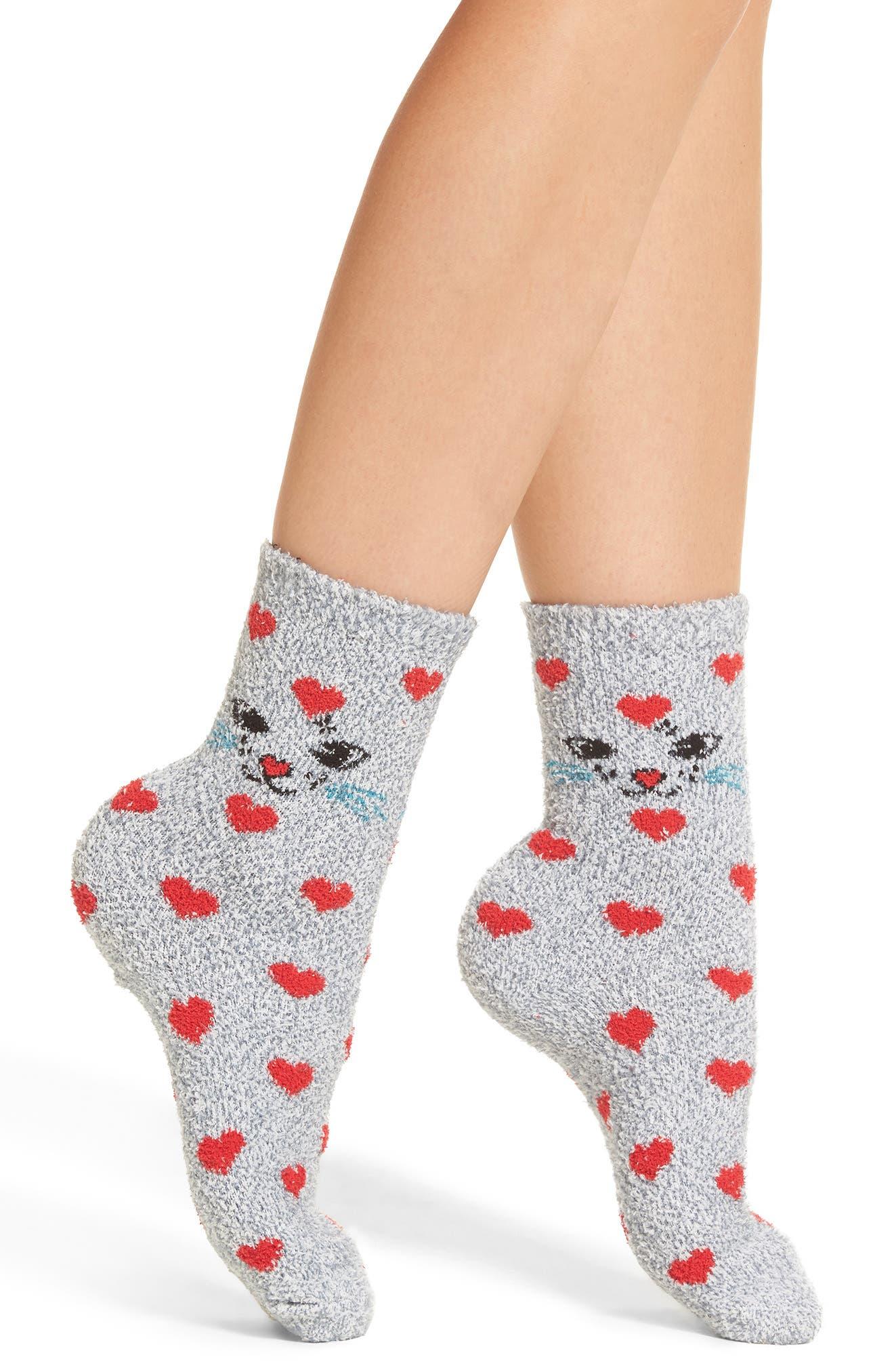 Chamois Crew Socks,                         Main,                         color, Grey Flannel Marl Kitty