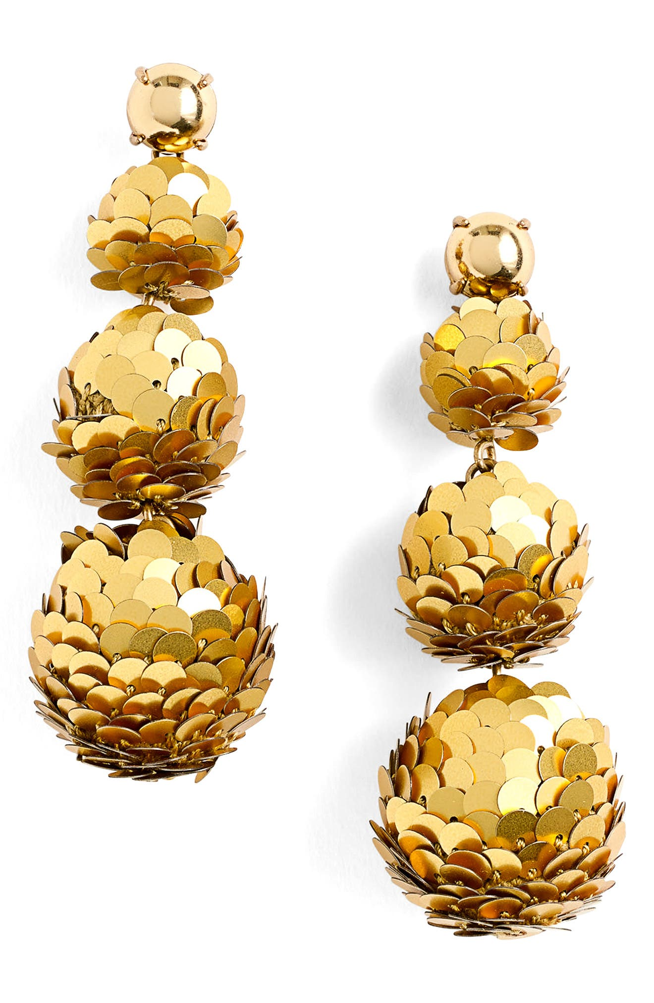 Sequin Ball Drop Earrings,                         Main,                         color, Burnished Gold