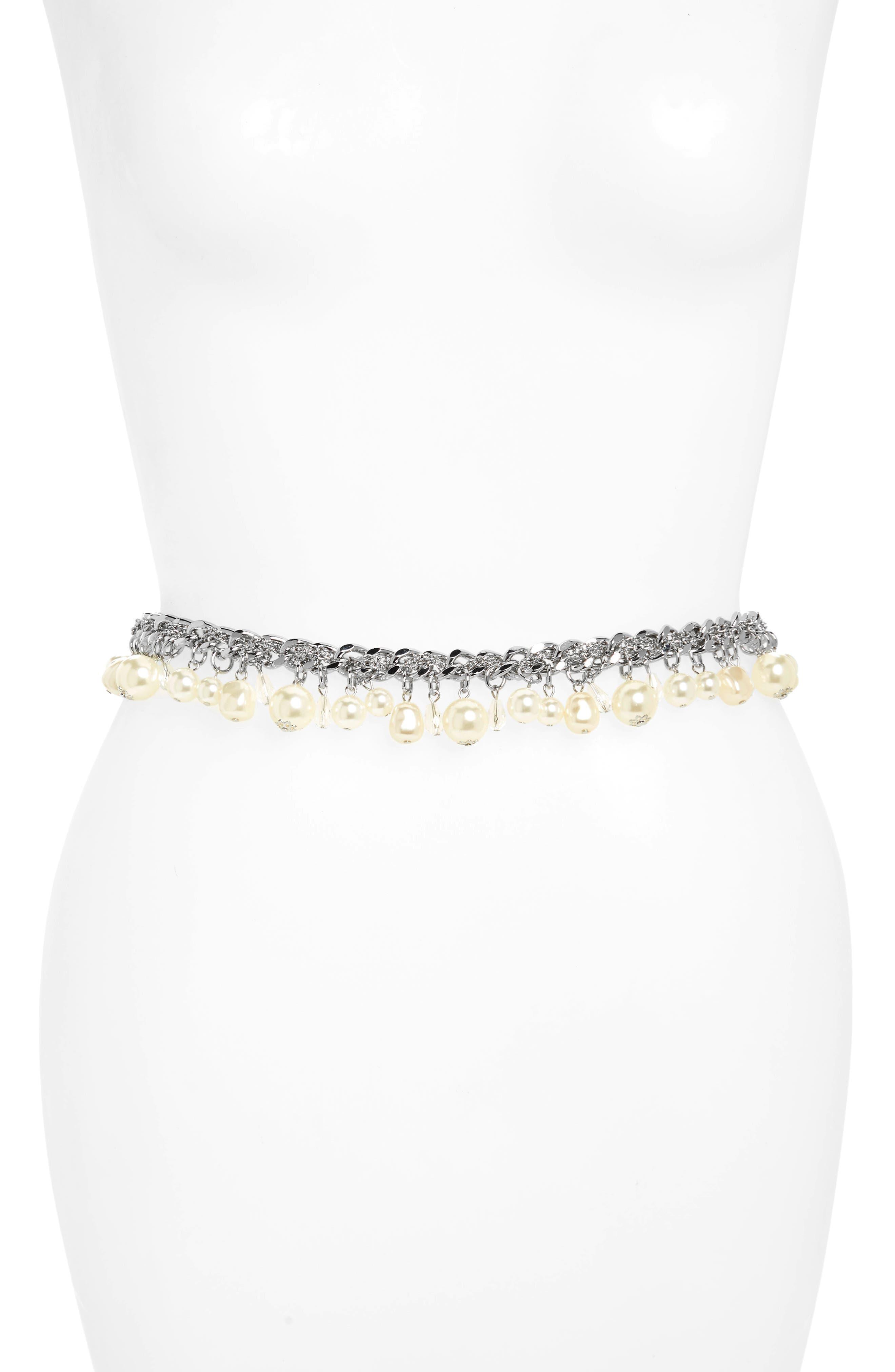 Imitation Pearl & Mini Chain Belt,                         Main,                         color, Silver/ Pearl