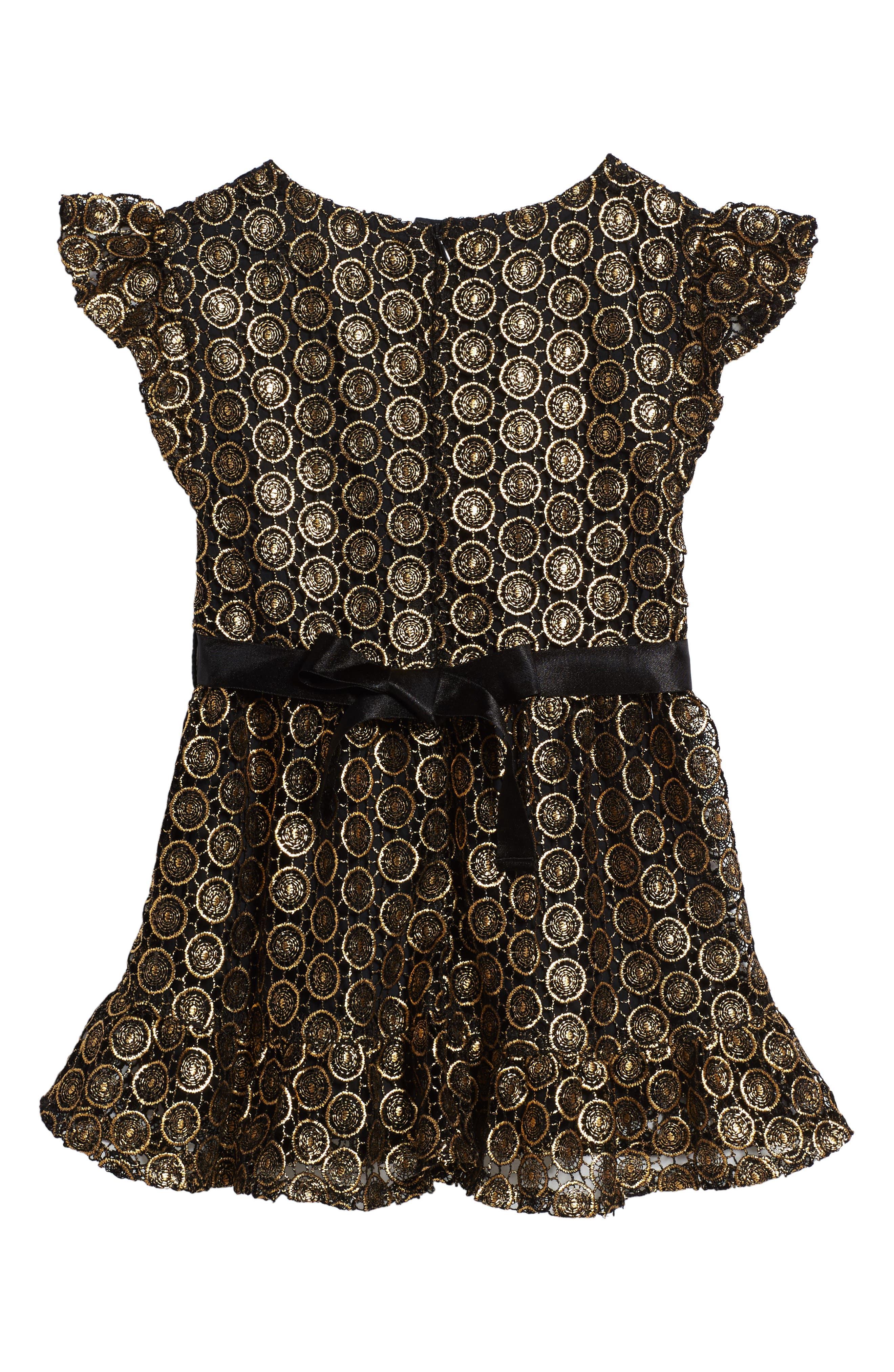 Alternate Image 2  - Peek Metallic Lace Dress (Toddler Girls, Little Girls & Big Girls)