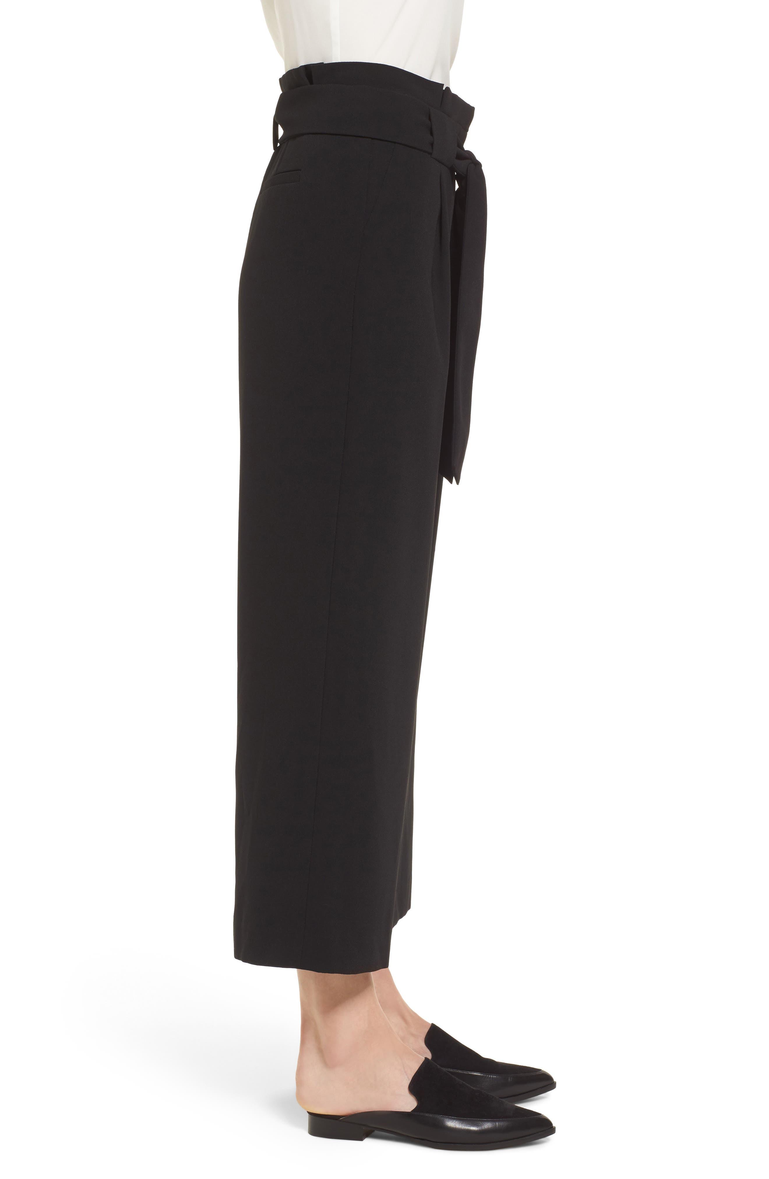 Belted Wide Leg Crop Pants,                             Alternate thumbnail 6, color,                             Black