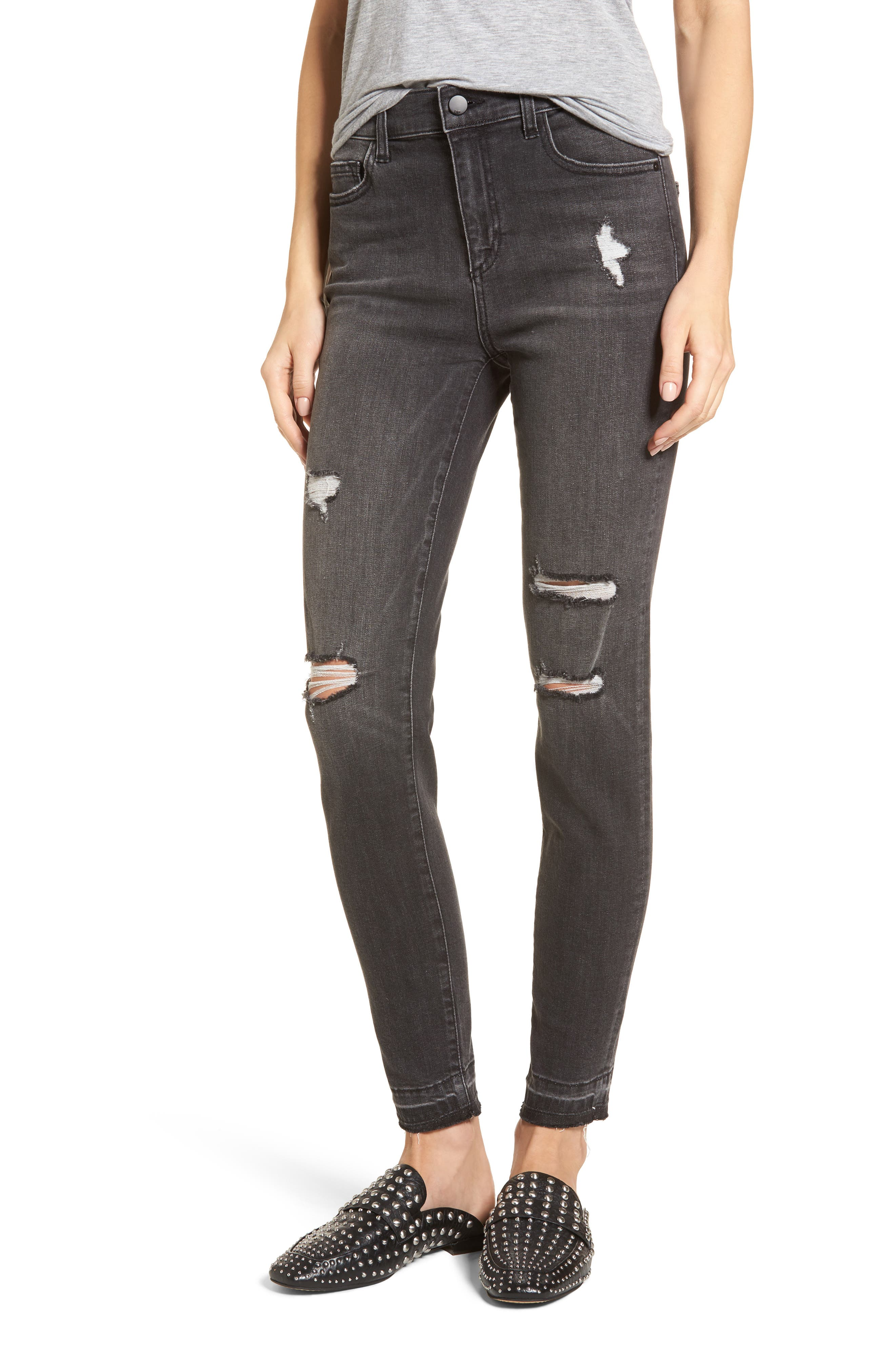 Ripped Release Hem Skinny Jeans,                             Main thumbnail 1, color,                             Charcoal