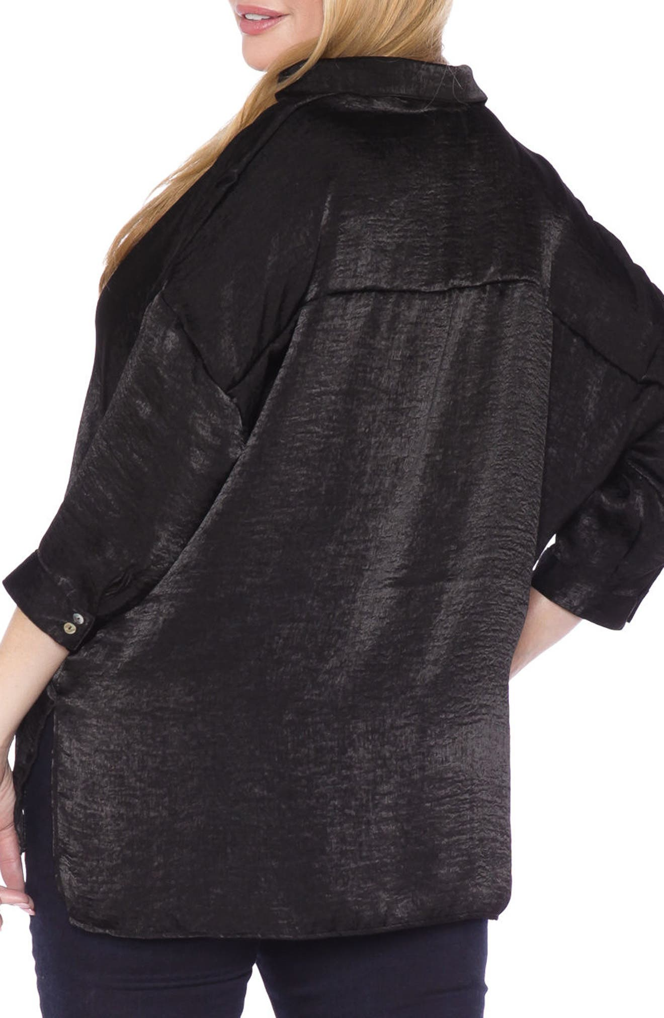 Hammered Satin Shirt,                             Alternate thumbnail 2, color,                             Black