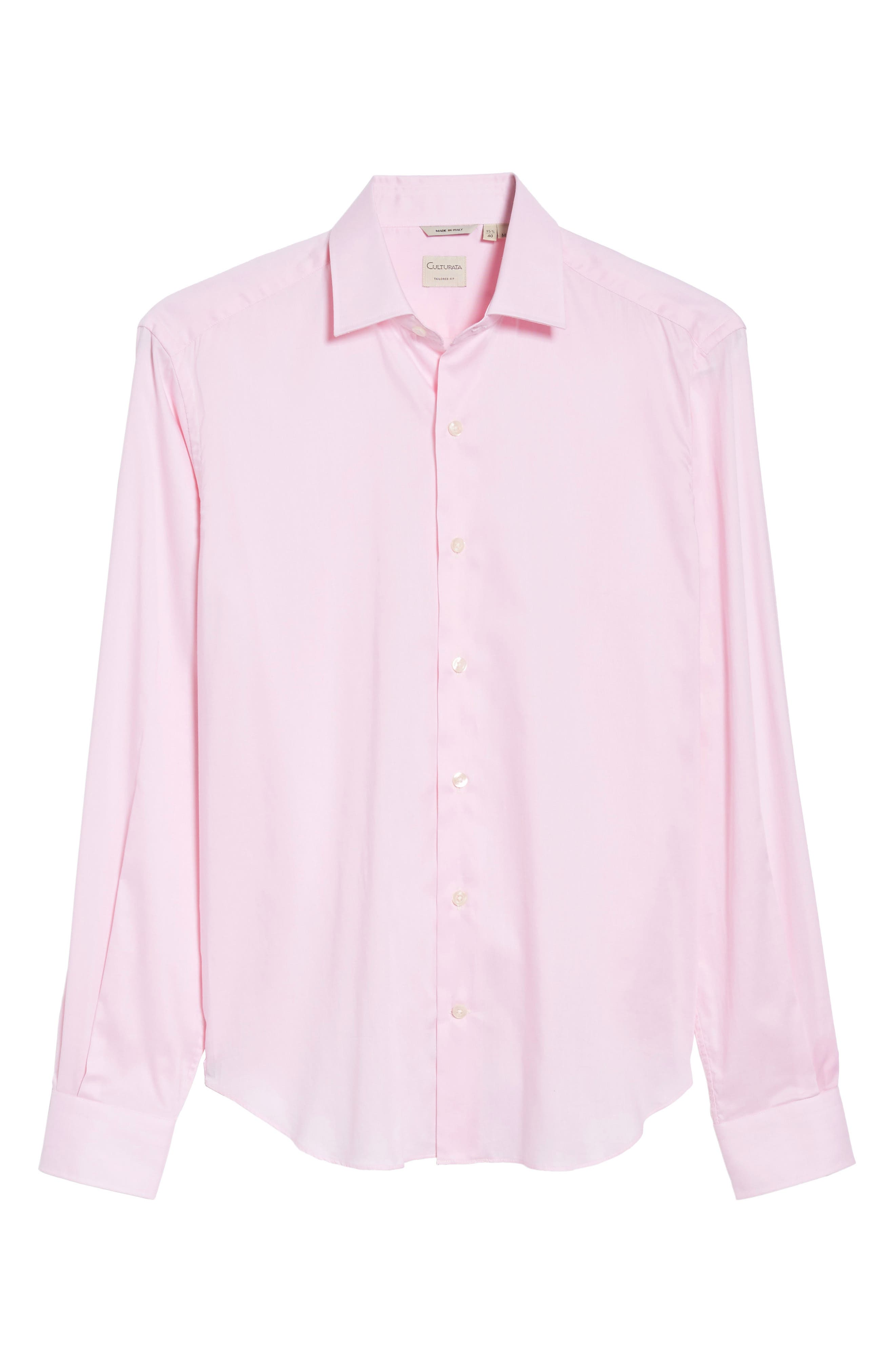Slim Fit Micro Stripe Sport Shirt,                             Alternate thumbnail 6, color,                             Pink