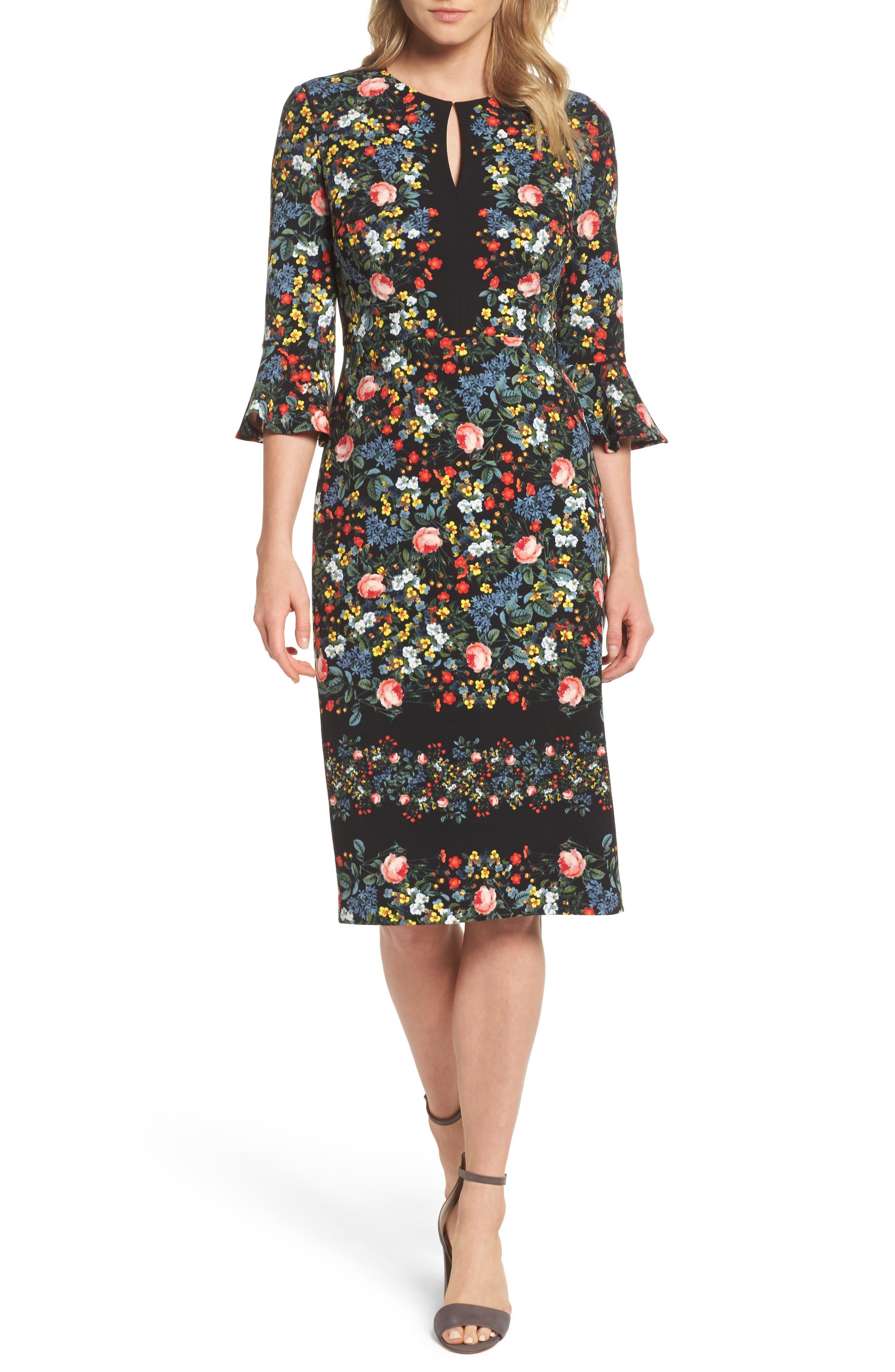 Flare Sleeve Sheath Dress,                         Main,                         color, Black Multi