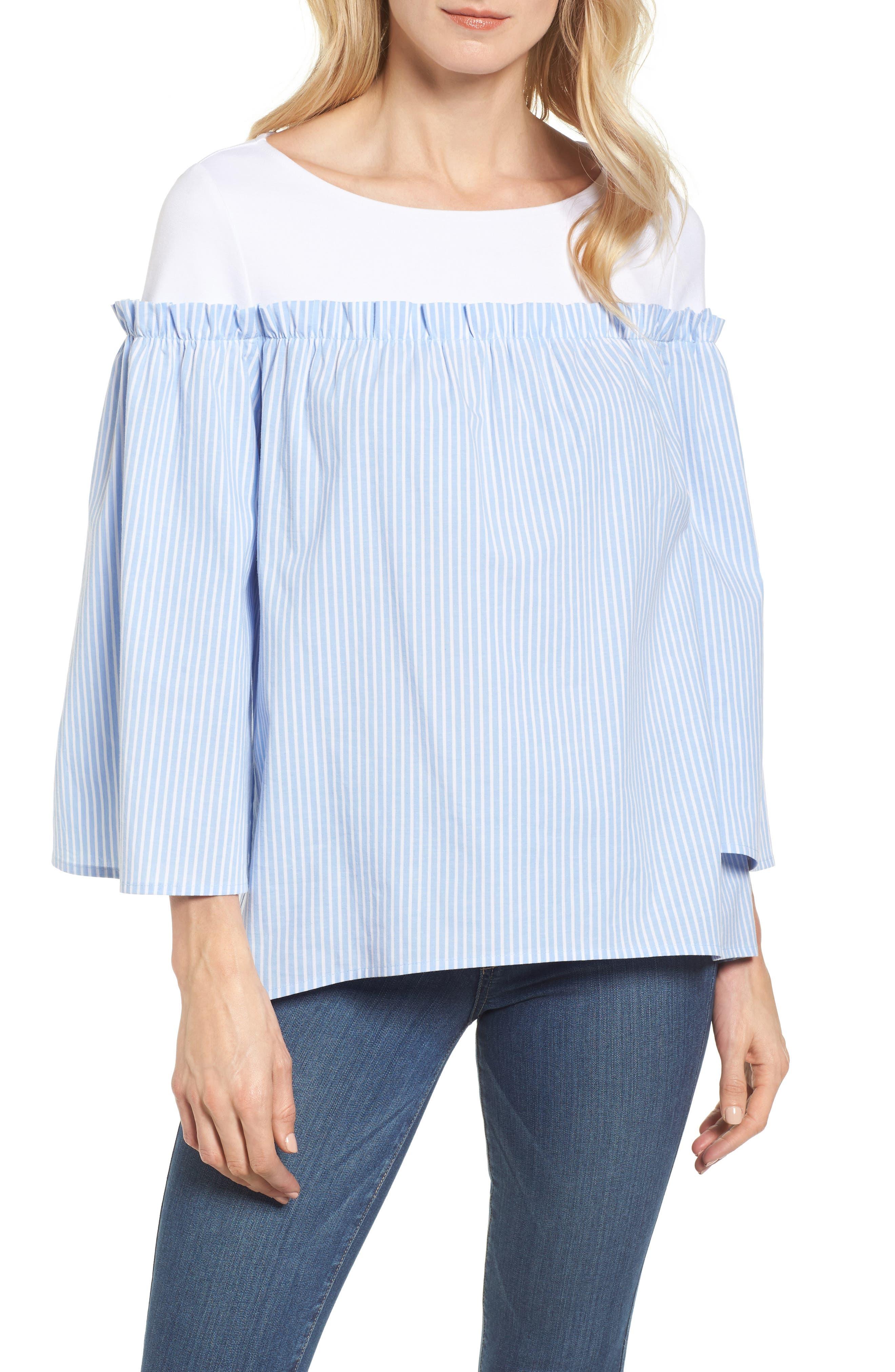 Ruffle Detail Mix Media High/Low Shirt,                             Main thumbnail 1, color,                             Blue- White Stripe