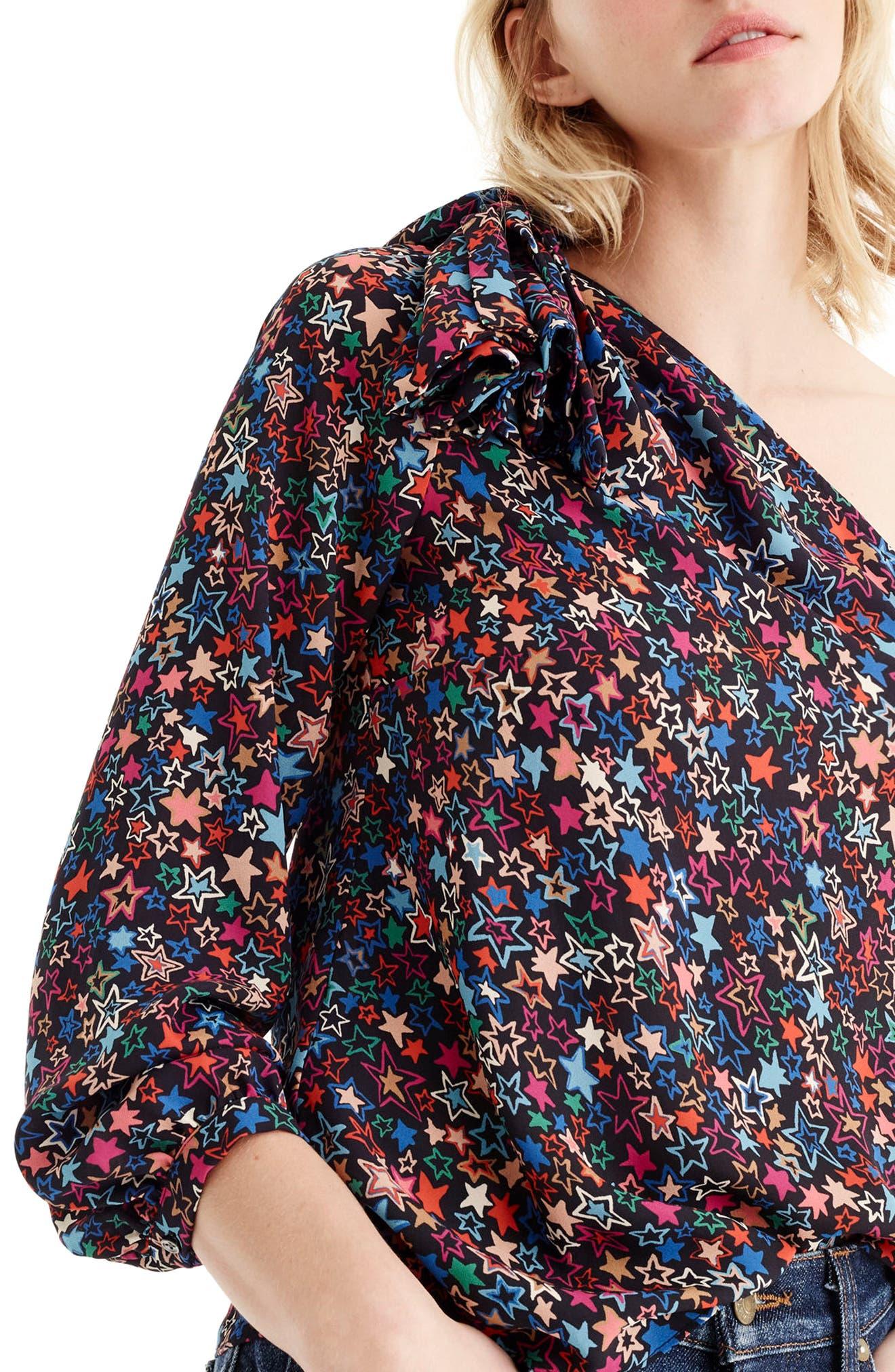 Jacuzzi One-Shoulder Star Print Top,                         Main,                         color, Indigo Multi