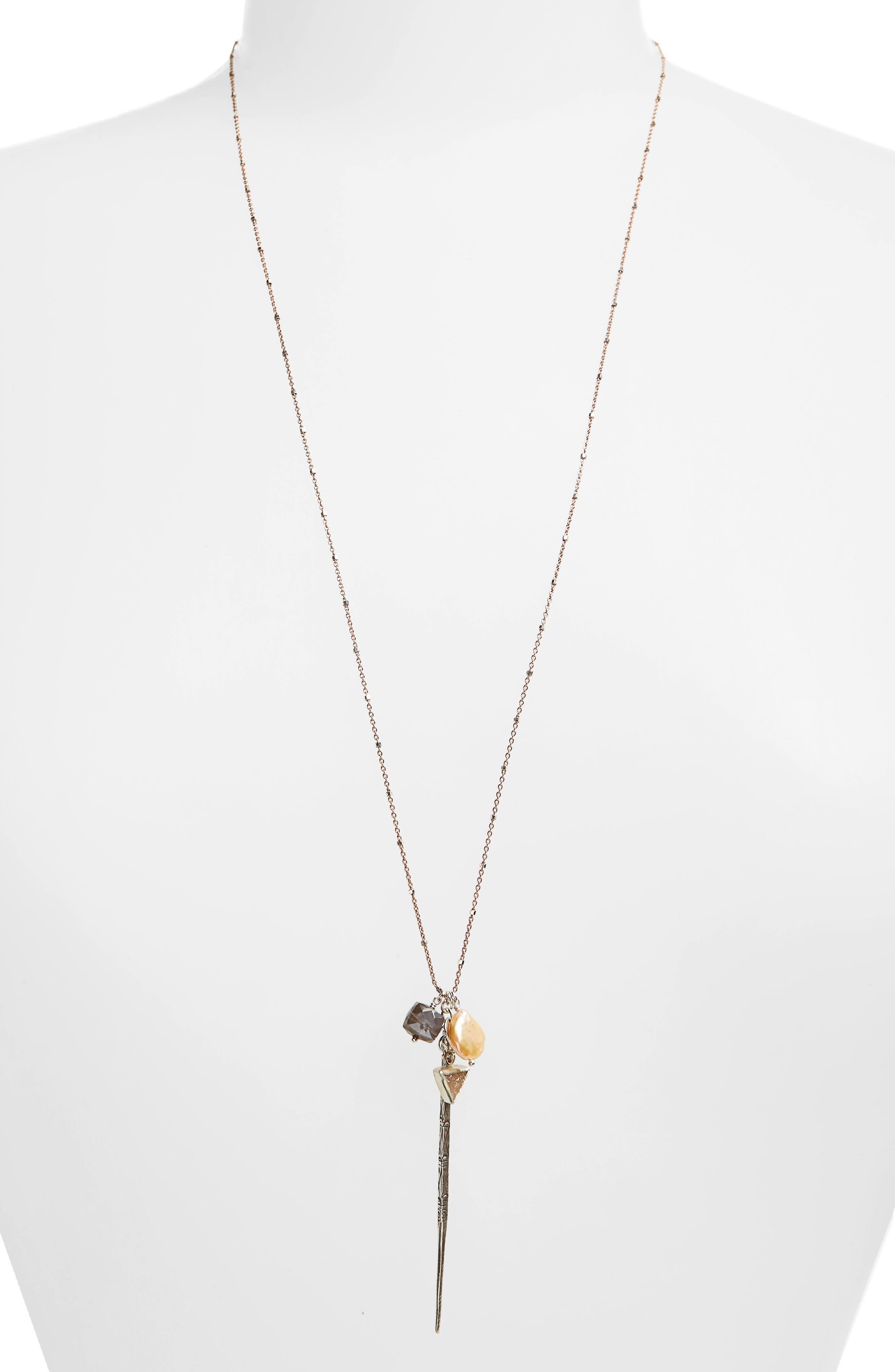Semiprecious Stone Pendant Necklace,                             Alternate thumbnail 2, color,                             Pink
