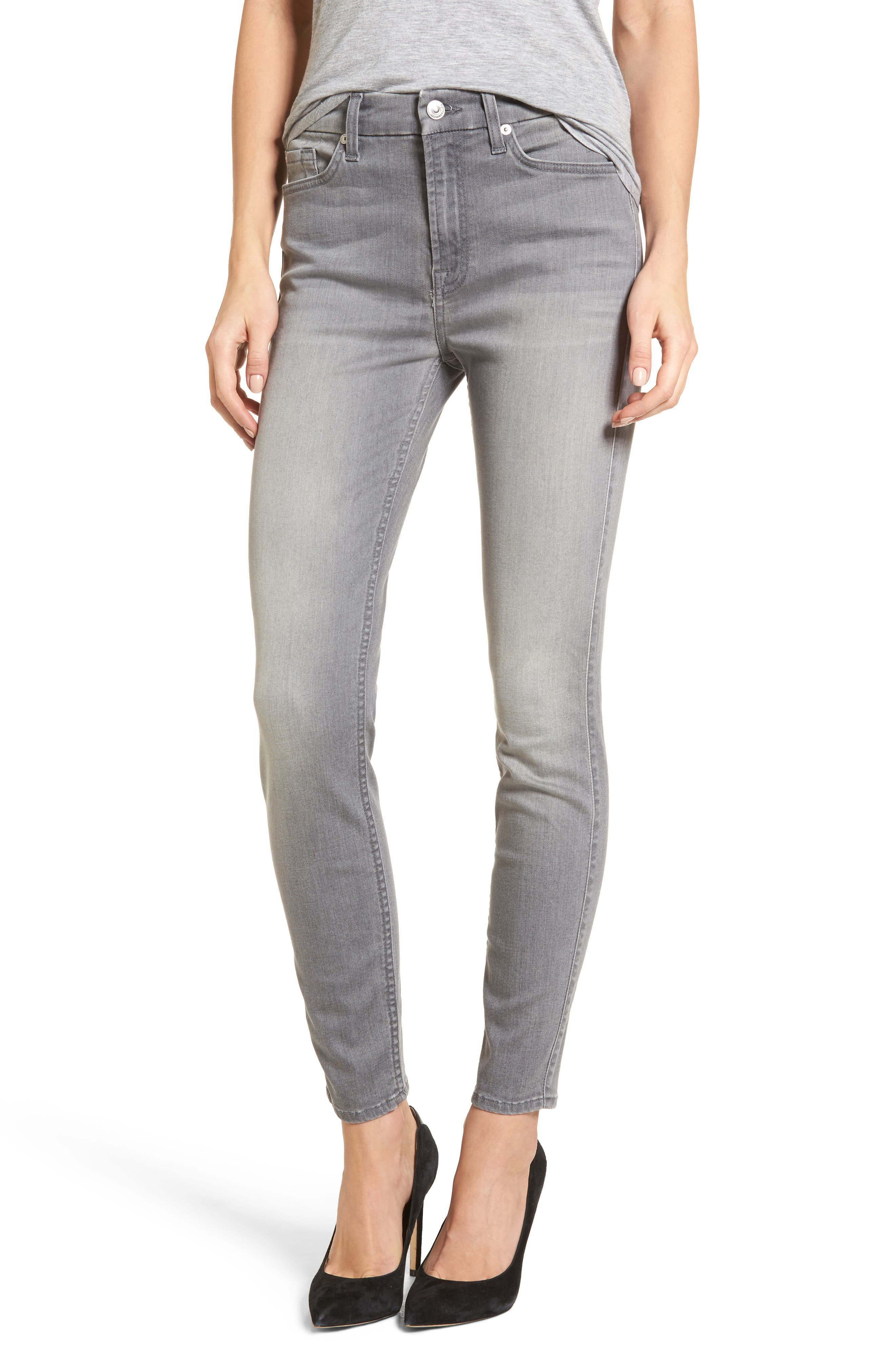 Alternate Image 1 Selected - 7 For All Mankind® High Waist Ankle Skinny Jeans (Chrysler Grey)