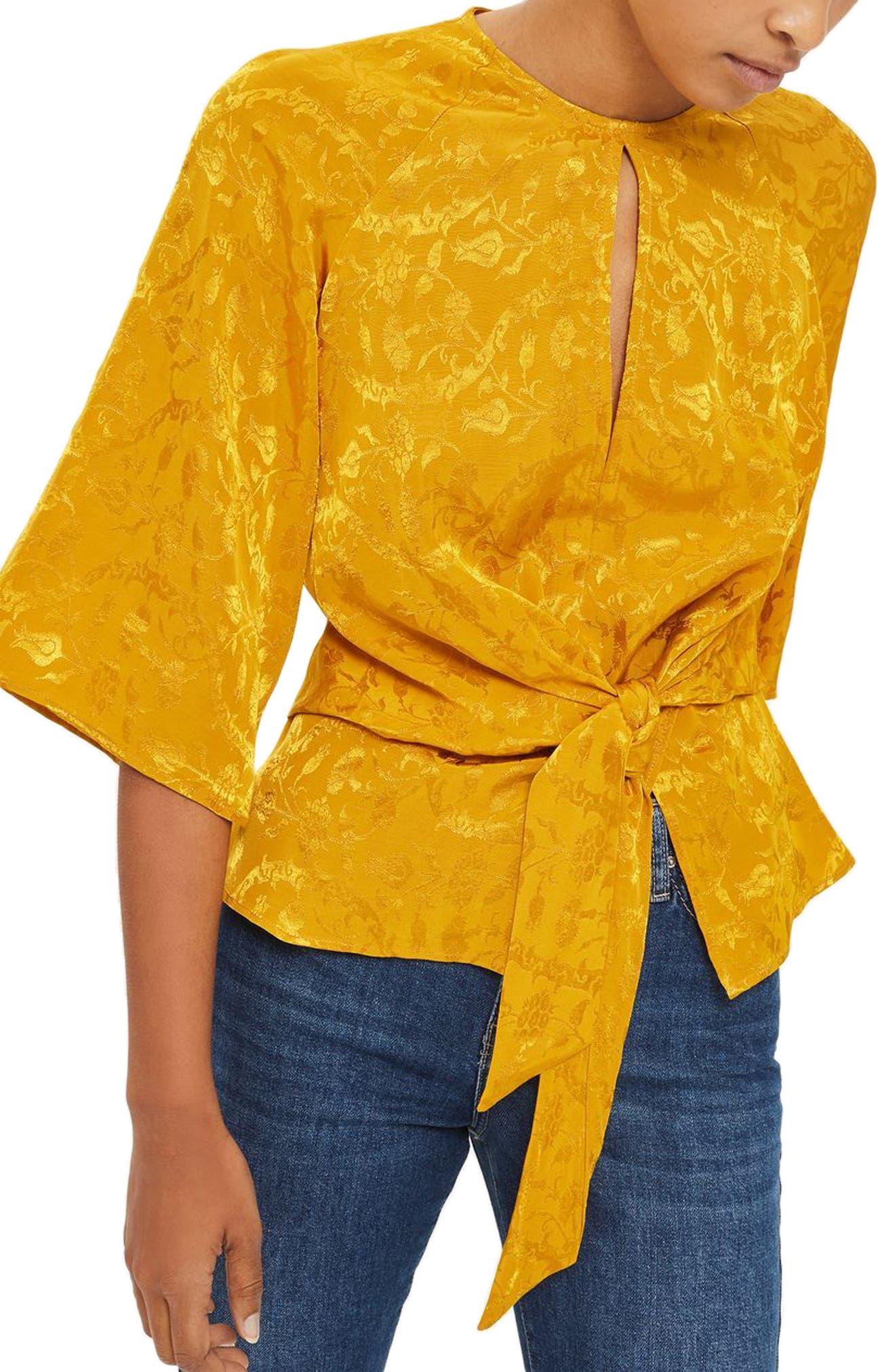 Tie Front Jacquard Blouse,                         Main,                         color, Mustard