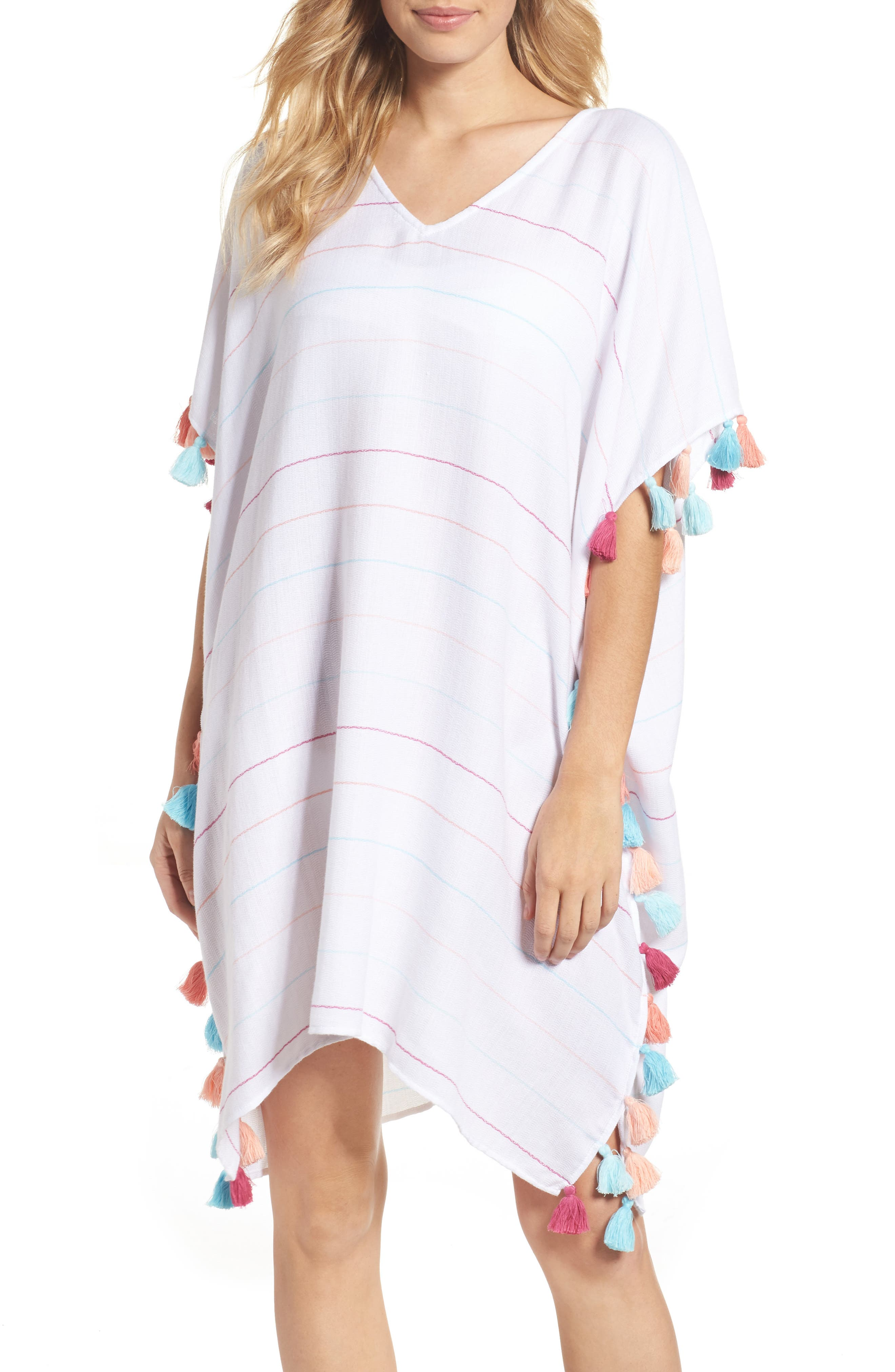 Modern Love Stripe Cover-Up Caftan,                             Main thumbnail 1, color,                             White