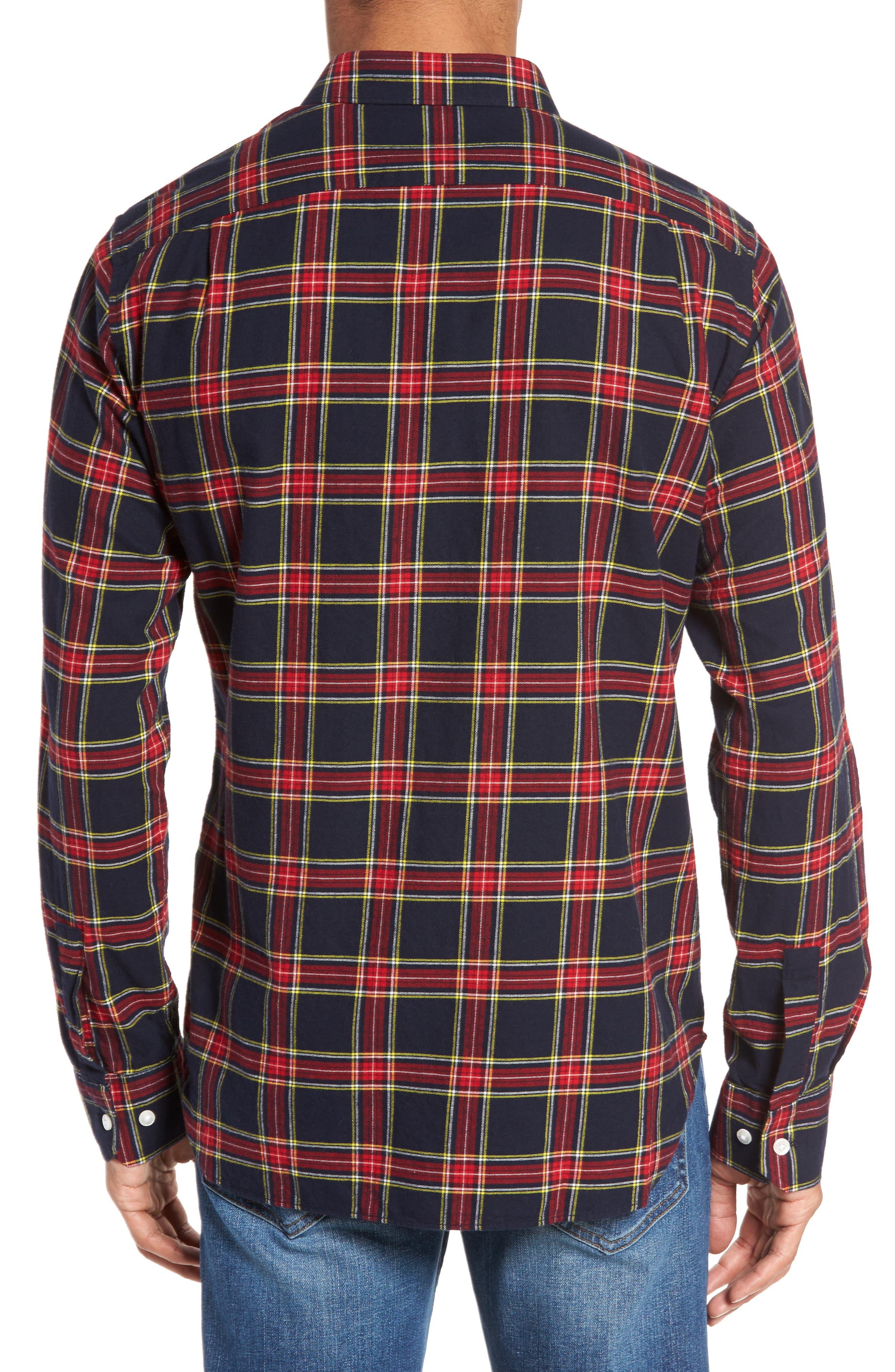 Unbutton Down Slim Fit Plaid Sport Shirt,                             Alternate thumbnail 2, color,                             Mohr Tartan/ Firecracker
