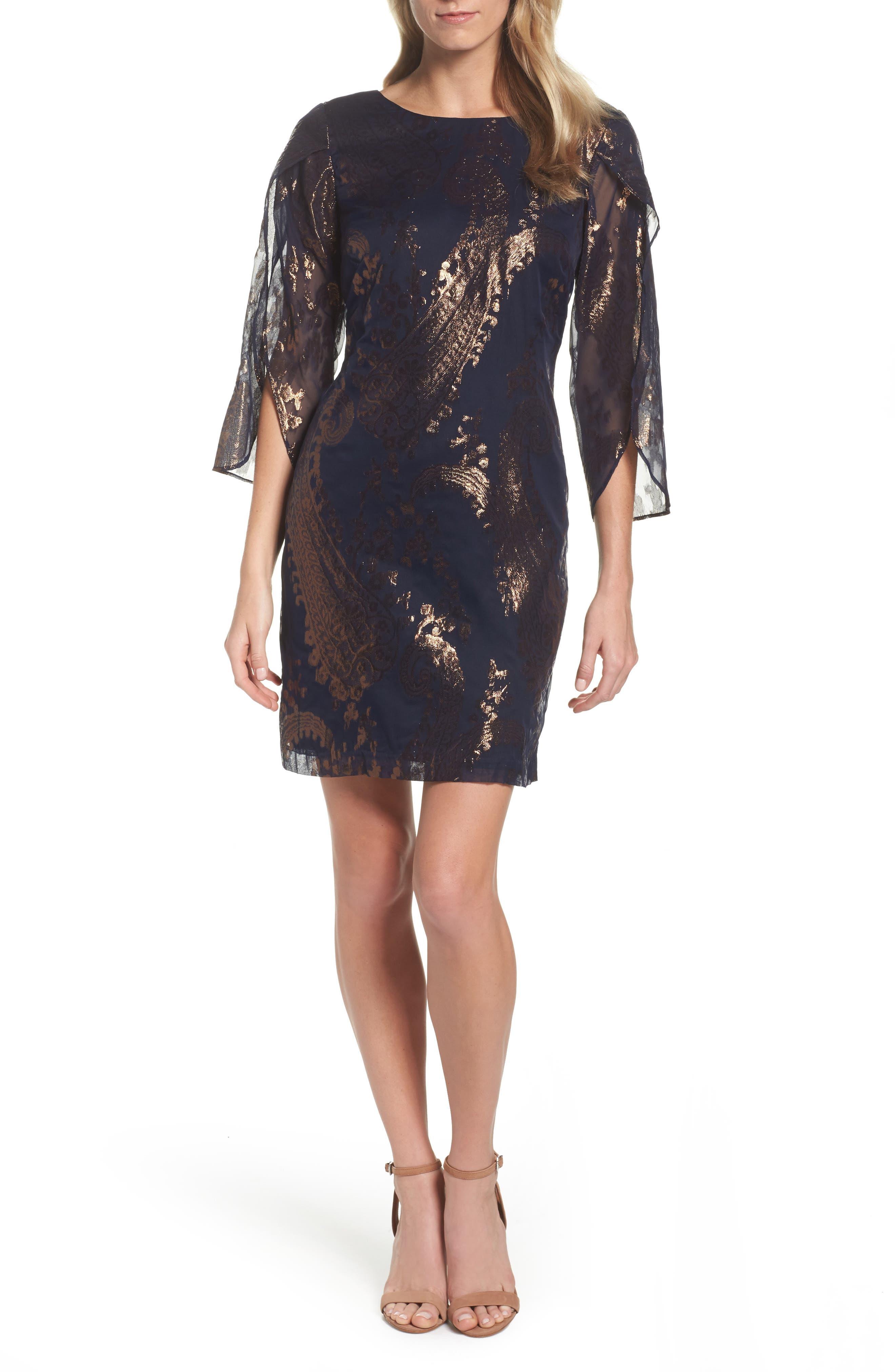Chetta B Tulip Sleeve Sheath Dress
