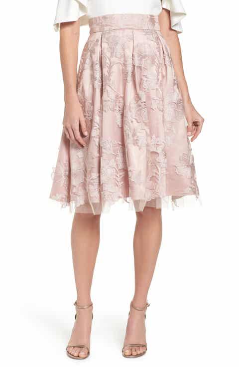 Eliza J Floral Embroidered Skirt