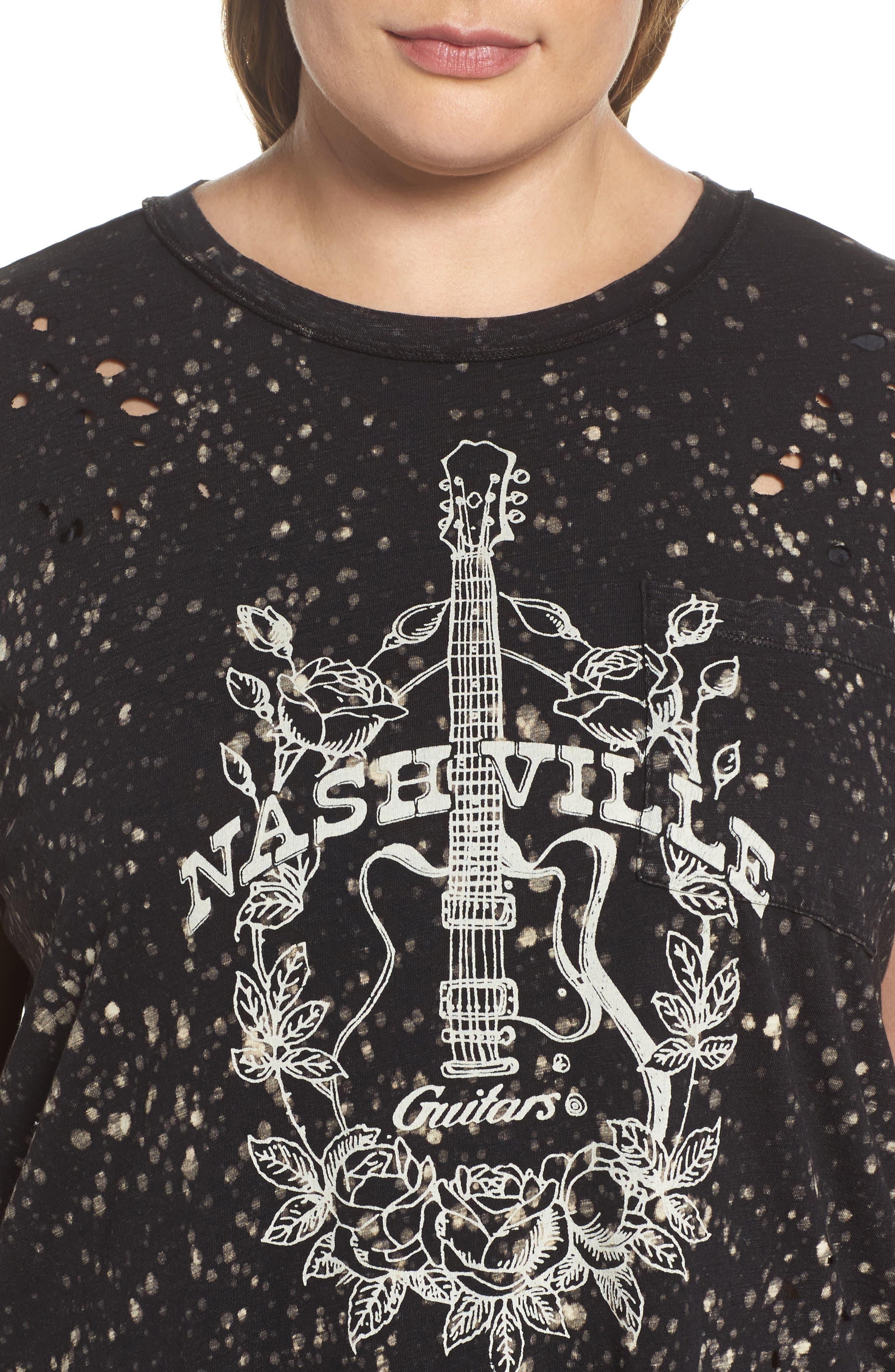 Nashville Guitars Crewneck Tee,                             Alternate thumbnail 4, color,                             Lucky Black
