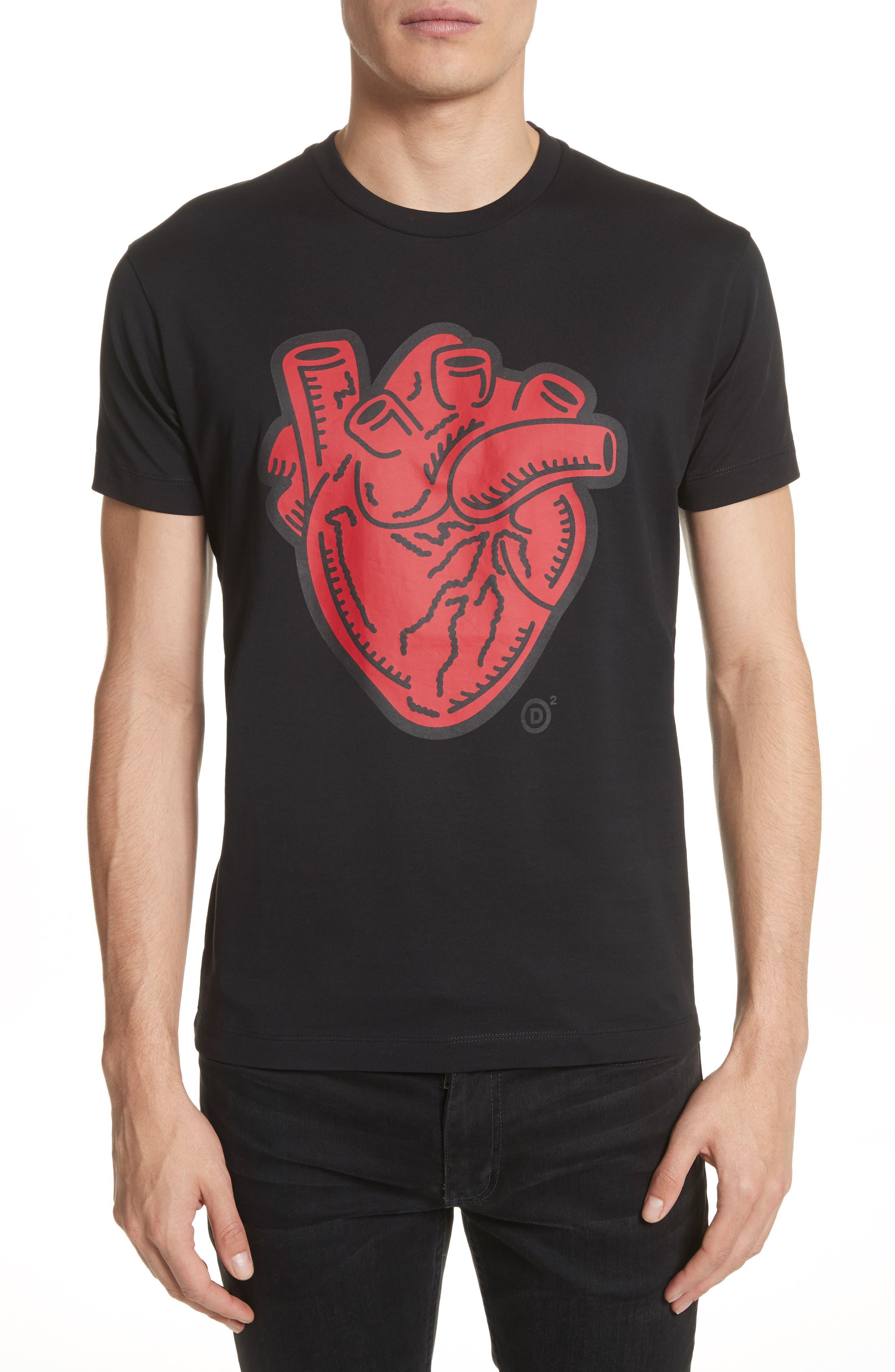 Heart Graphic T-Shirt,                         Main,                         color, Black