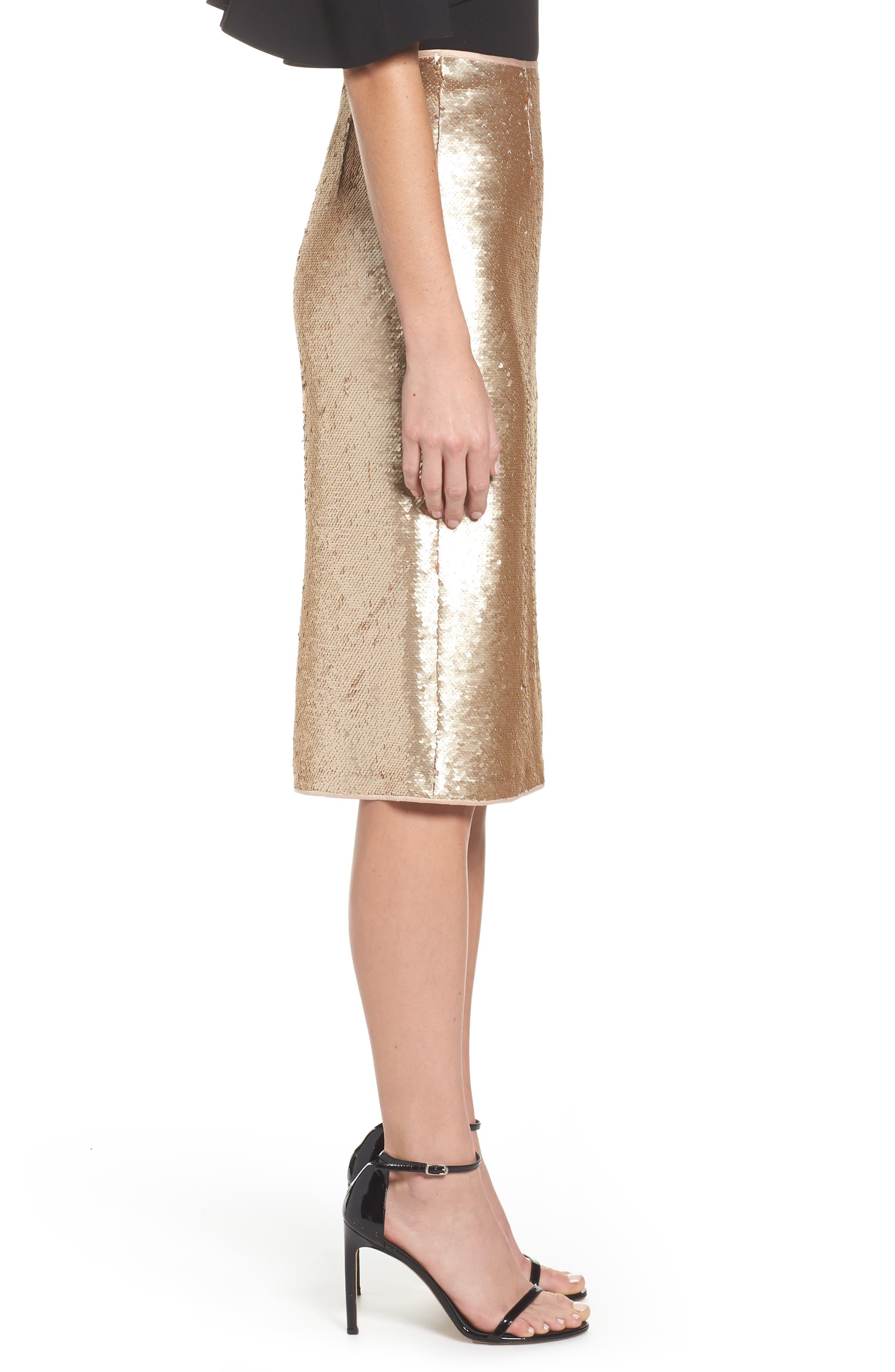 Paillette Pencil Skirt,                             Alternate thumbnail 4, color,                             Gold