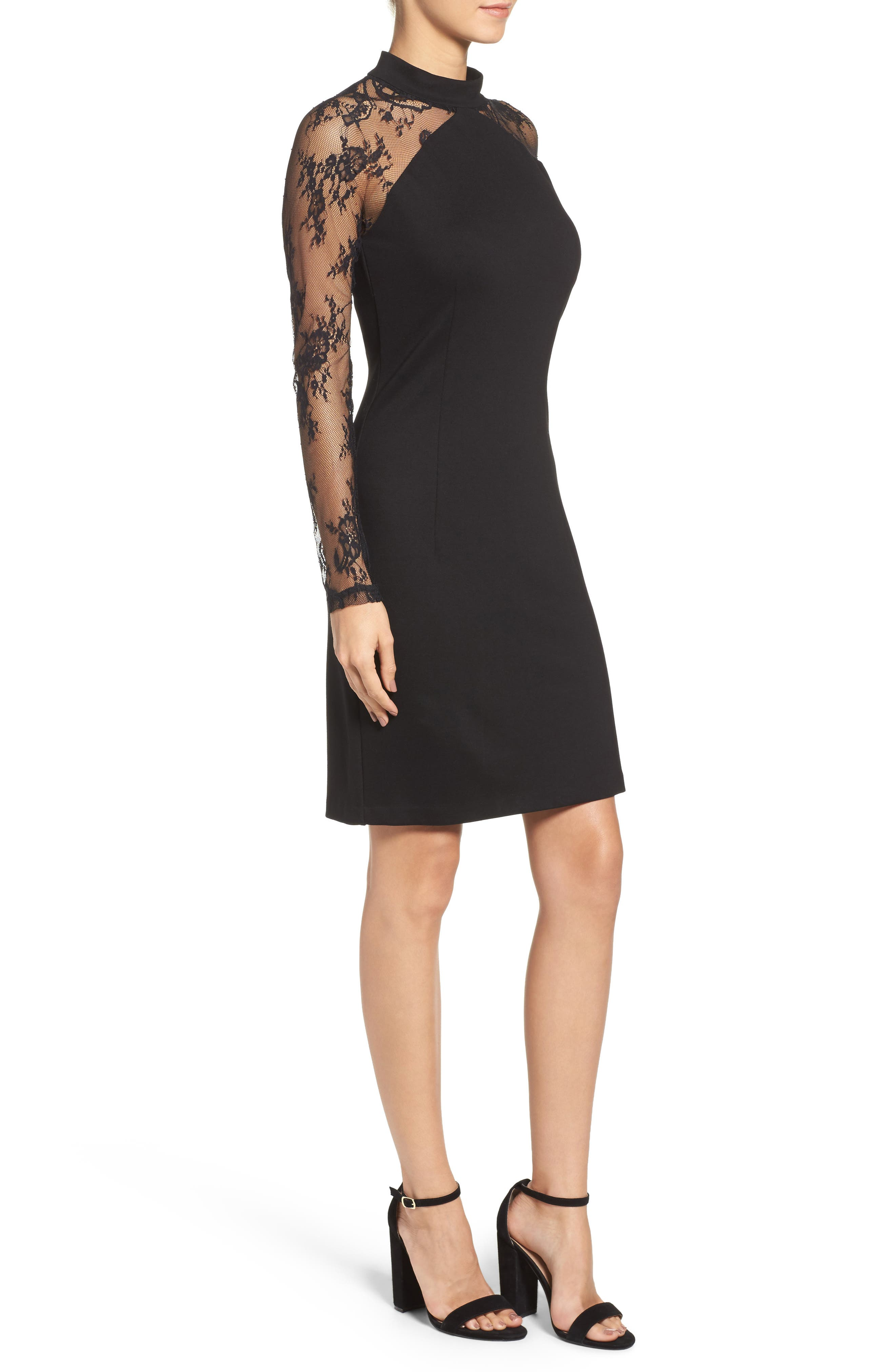 Wells Body-Con Dress,                             Alternate thumbnail 3, color,                             Black