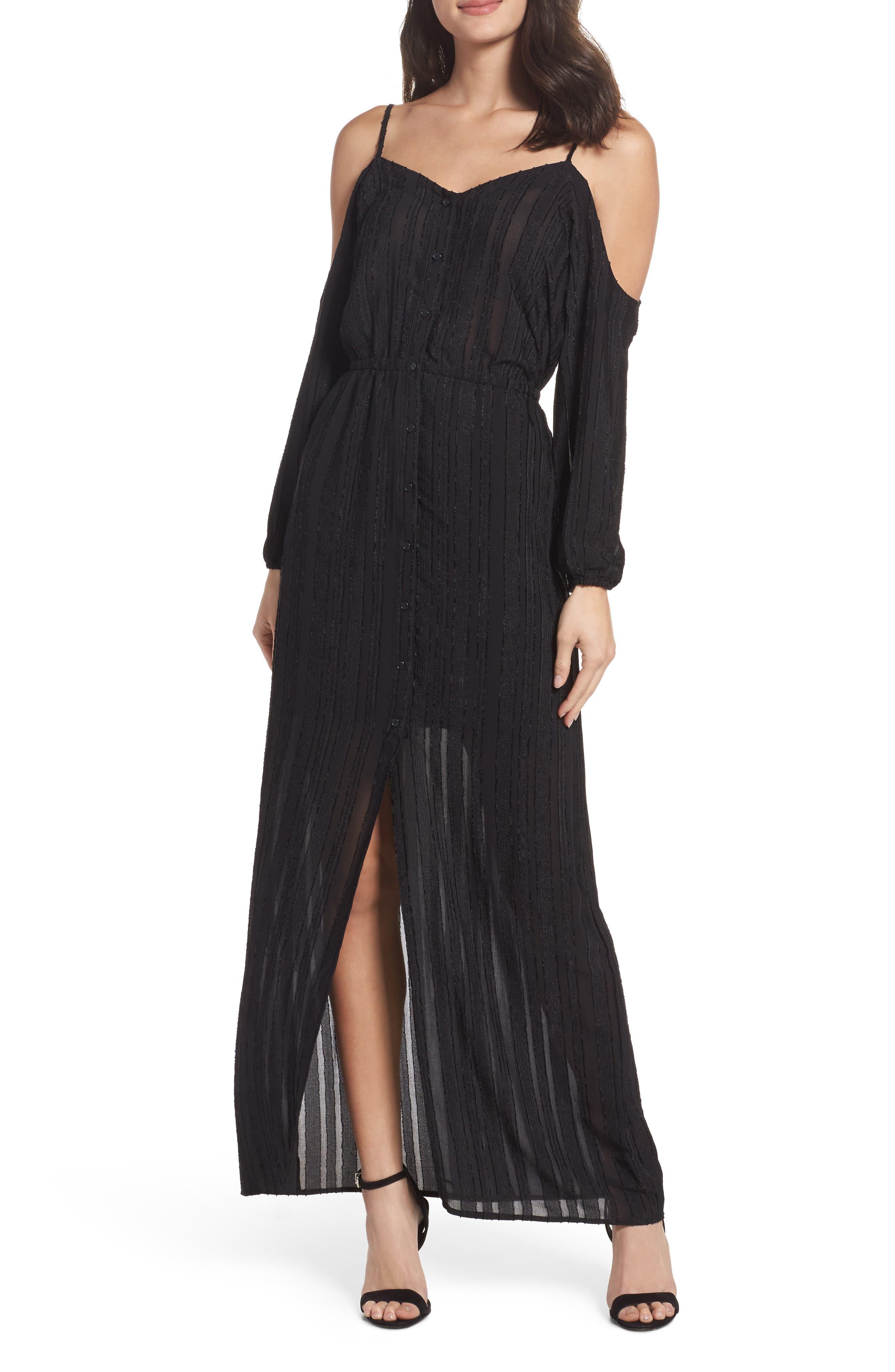 Keaton Cold Shoulder Maxi Dress,                         Main,                         color, Black