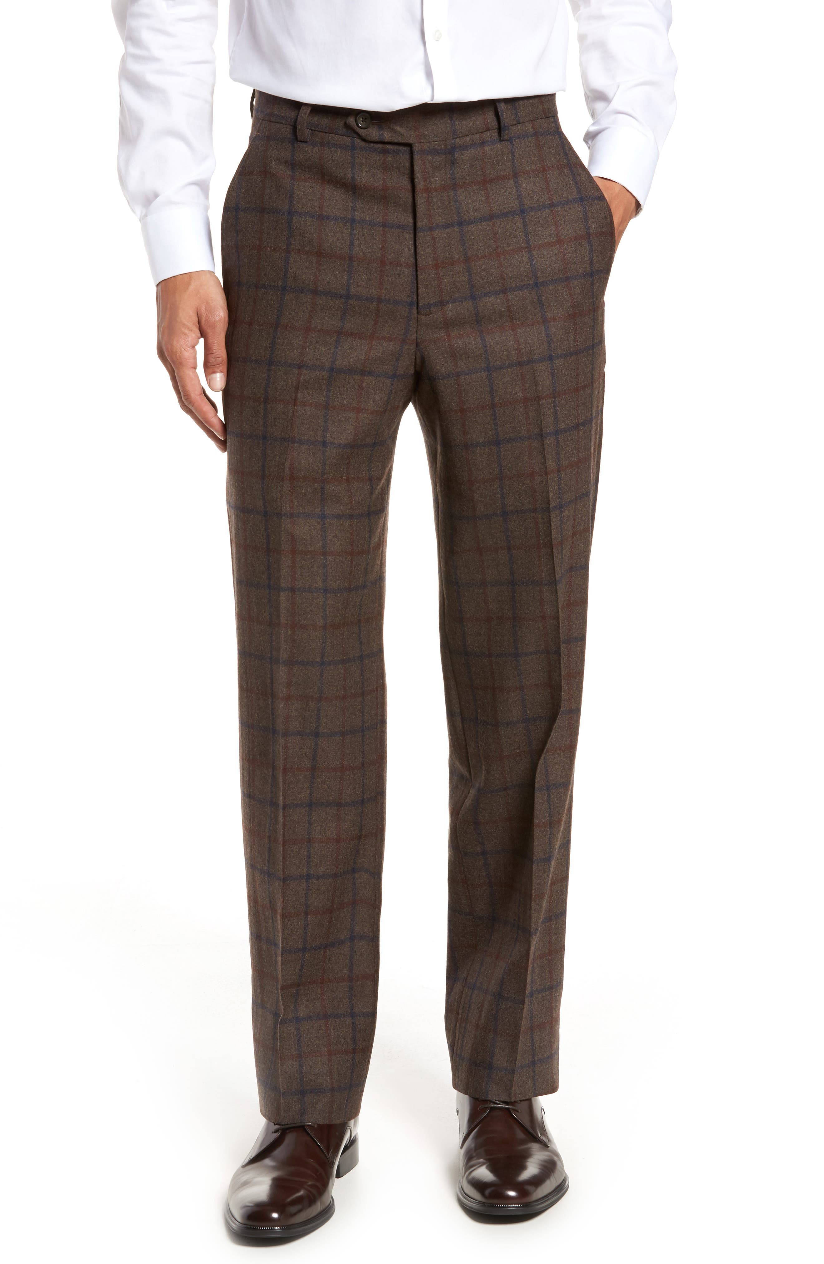 Flat Front Windowpane Wool Trousers,                         Main,                         color, Brown