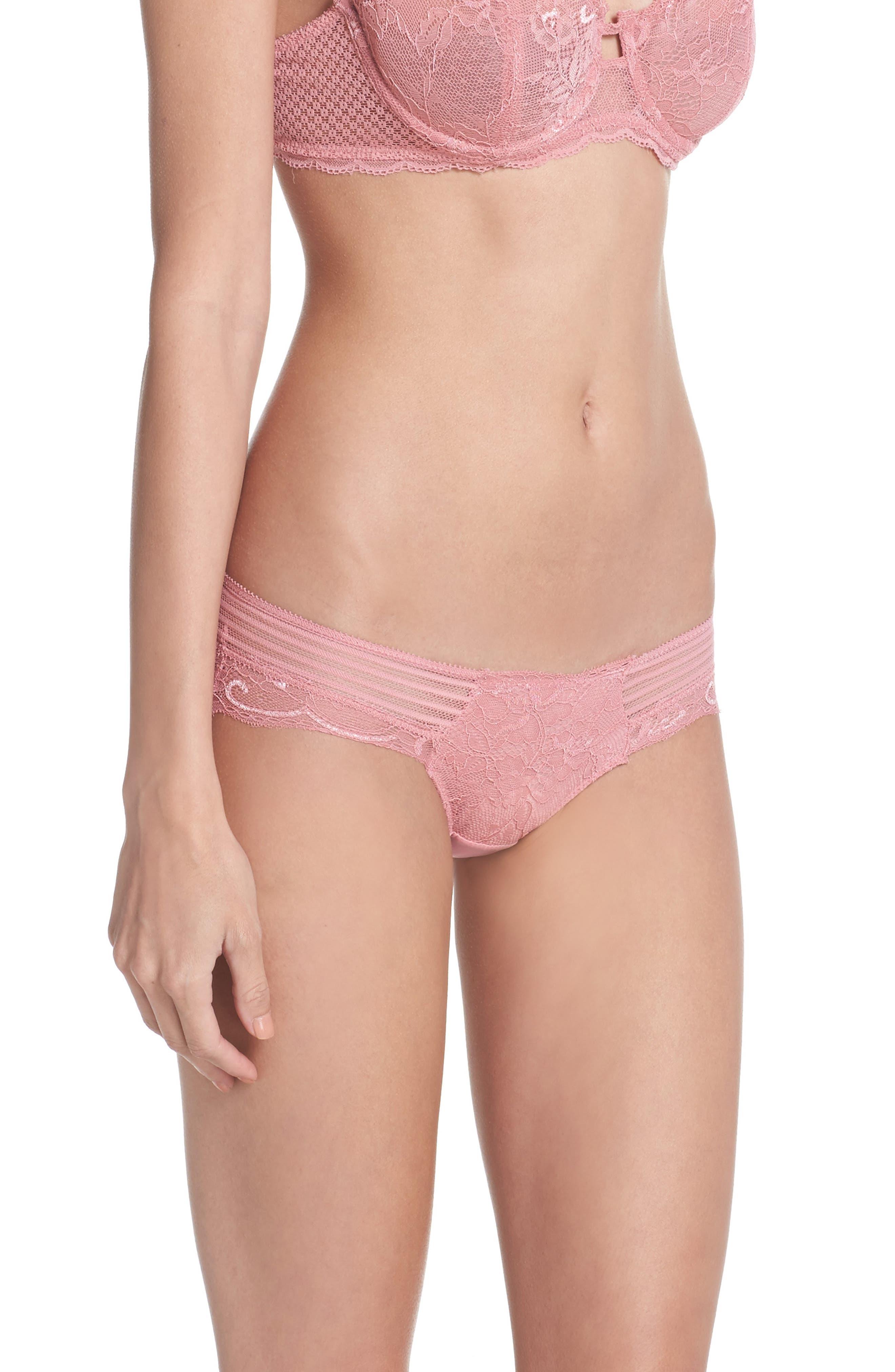 Lace Hipster Panties,                             Alternate thumbnail 3, color,                             Blush Pink