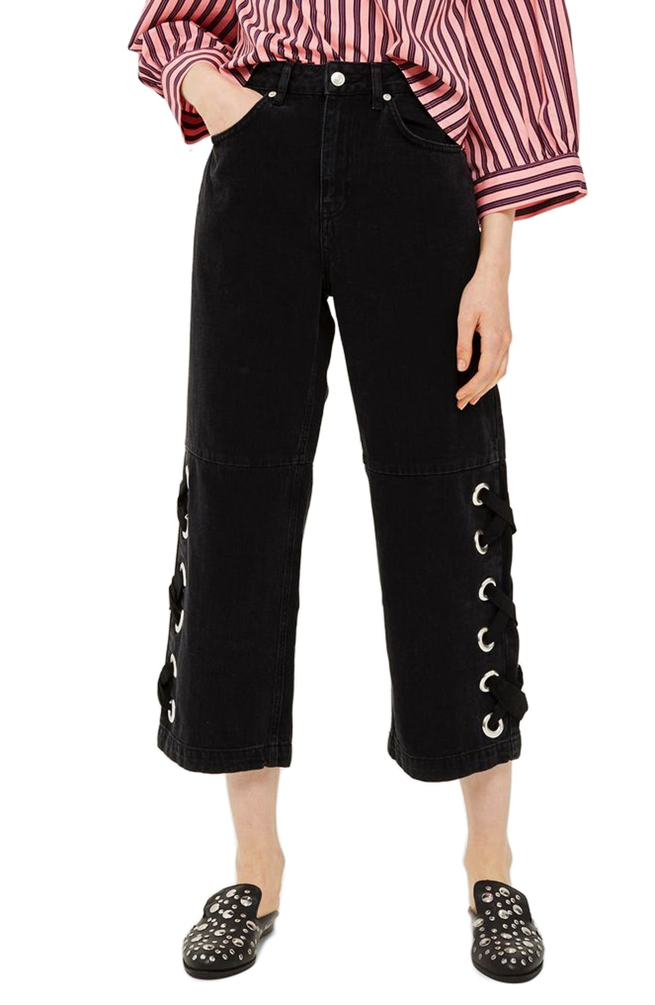 Topshop Lace Up Hem Crop Wide Leg Jeans