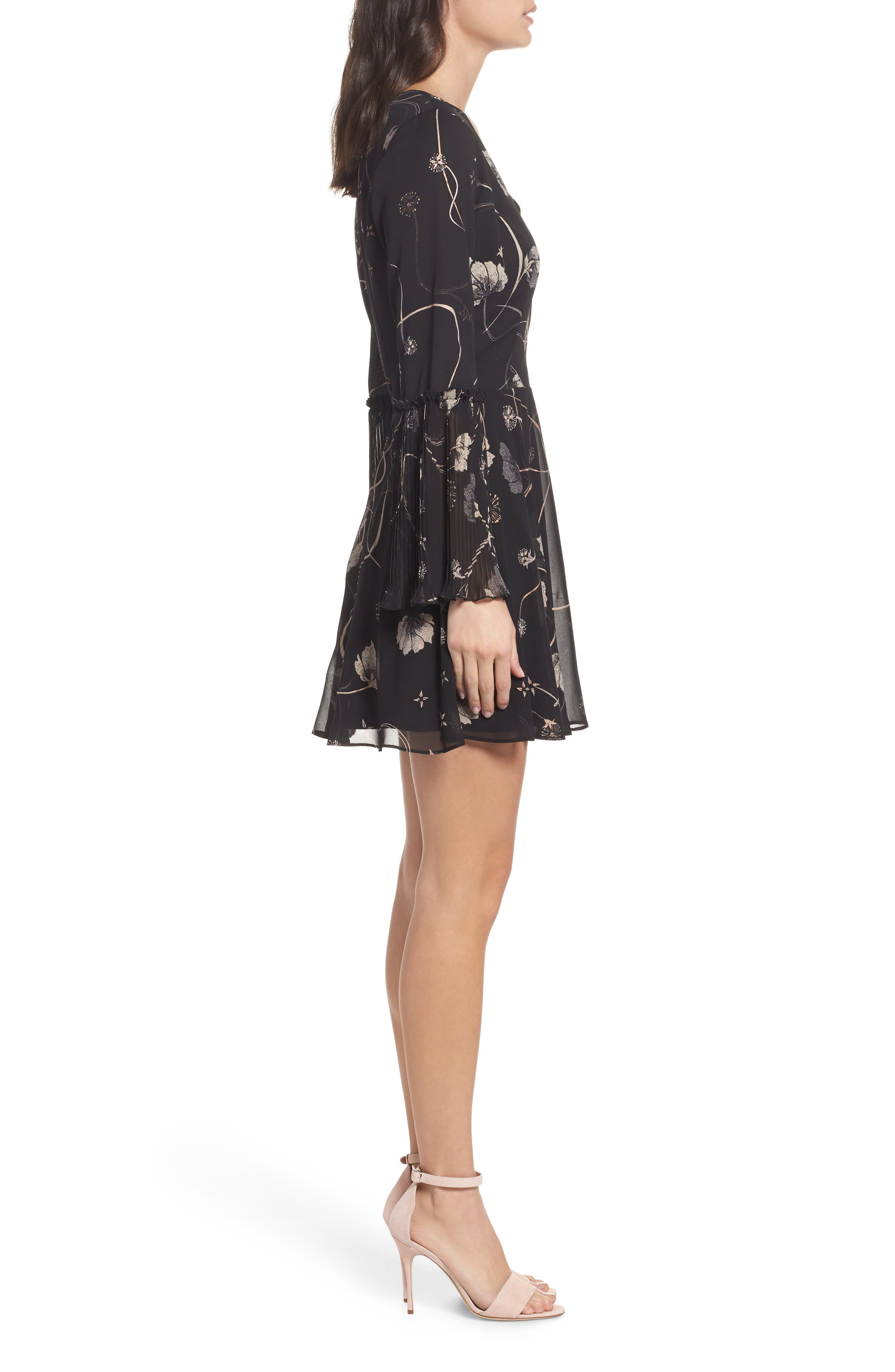 Bell Sleeve Fit & Flare Dress,                             Alternate thumbnail 3, color,                             Black Cotton Swirl