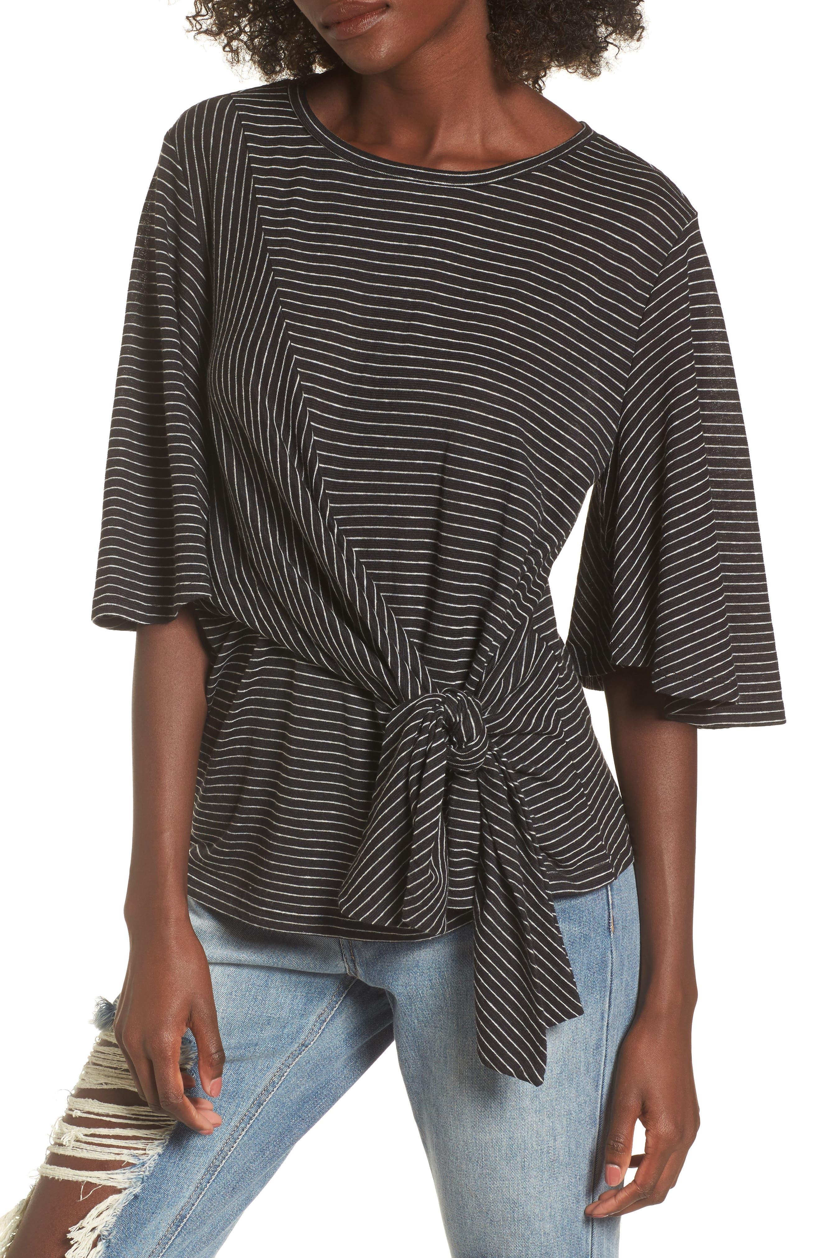 Side Tie Tee,                             Main thumbnail 1, color,                             Black Chelsea Stripe