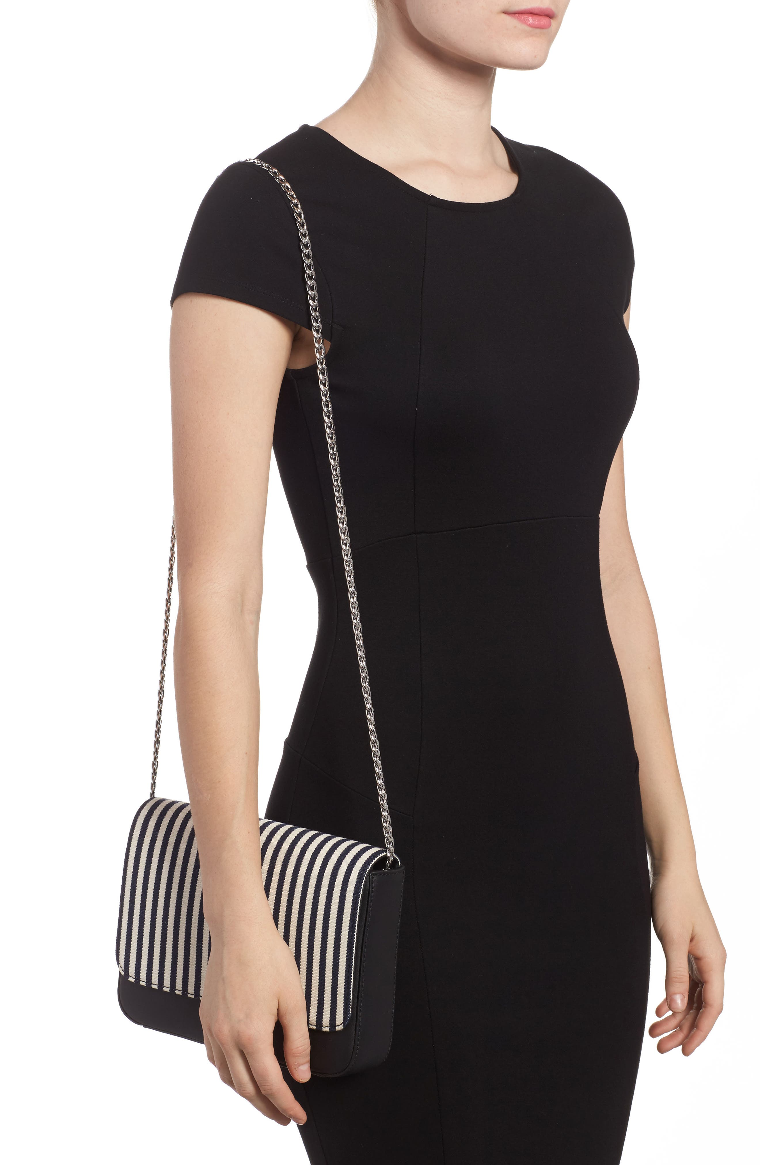 Lock Stripe Clutch/Shoulder Bag,                             Alternate thumbnail 2, color,                             White/ Eclipse