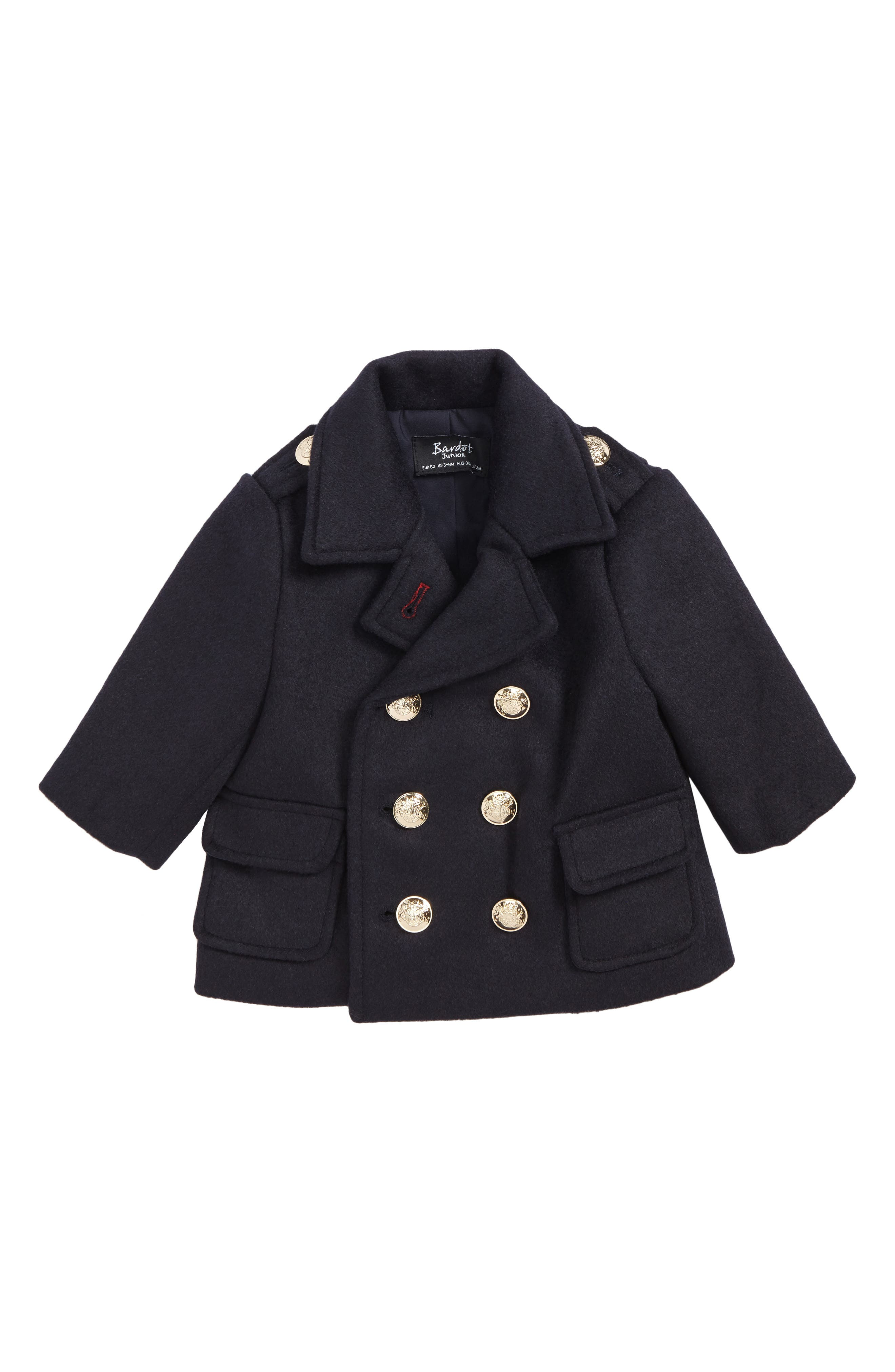 Junior Bardot Jude Double Breasted Peacoat (Baby Boys & Toddler Boys)