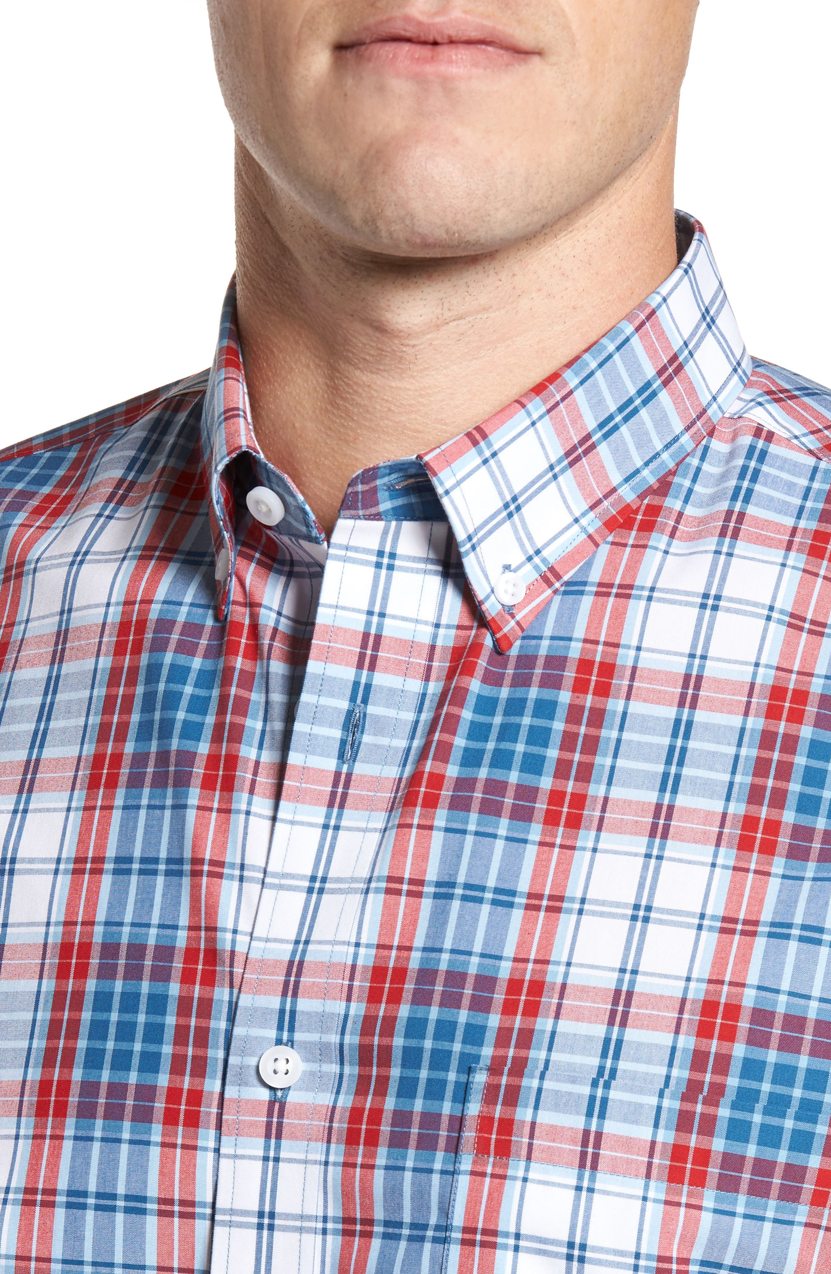 Smartcare<sup>™</sup> Regular Fit Plaid Sport Shirt,                             Alternate thumbnail 4, color,                             White Red Heather Tartan