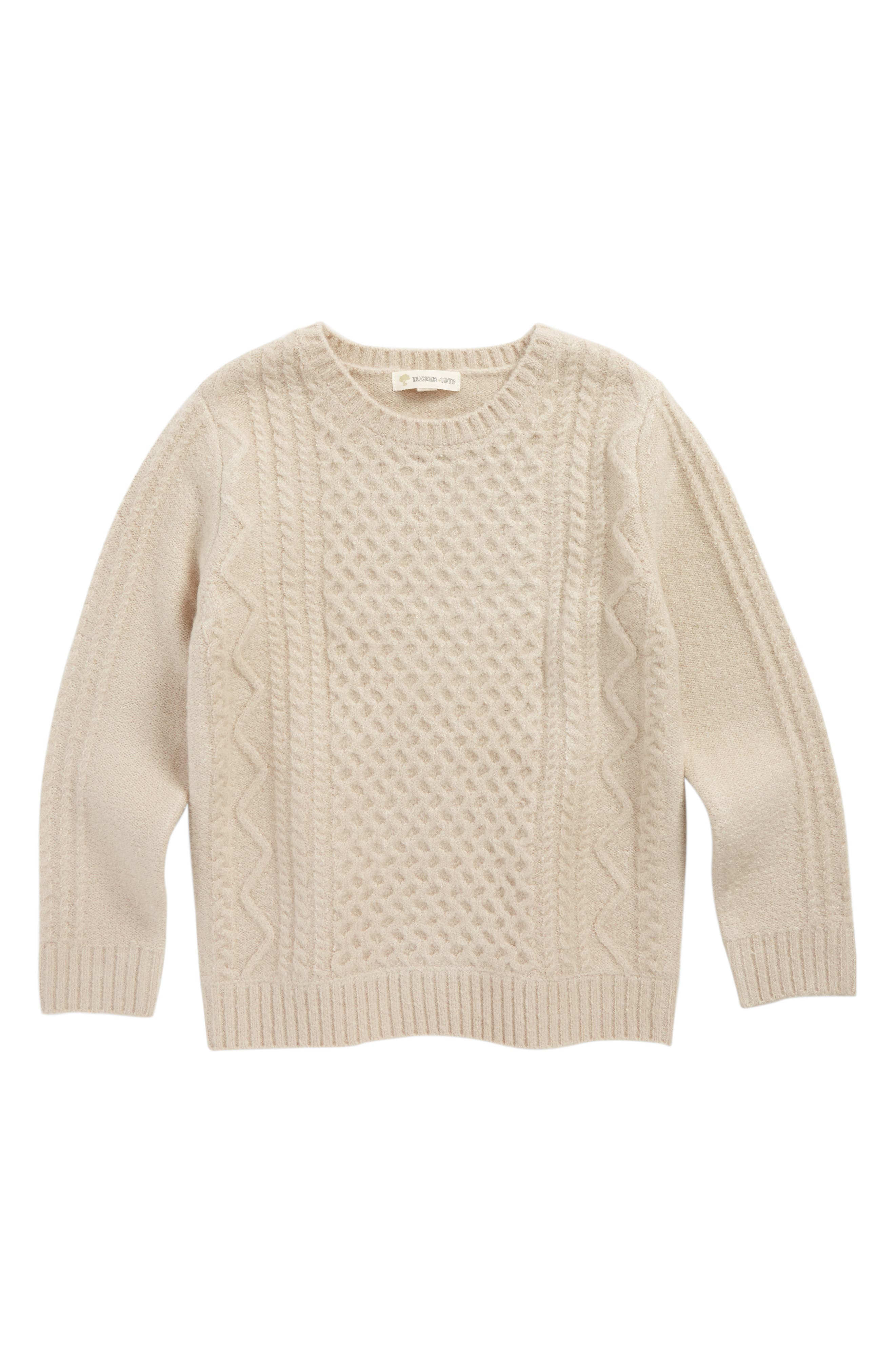 Cable Sweater,                         Main,                         color, Grey Pebble
