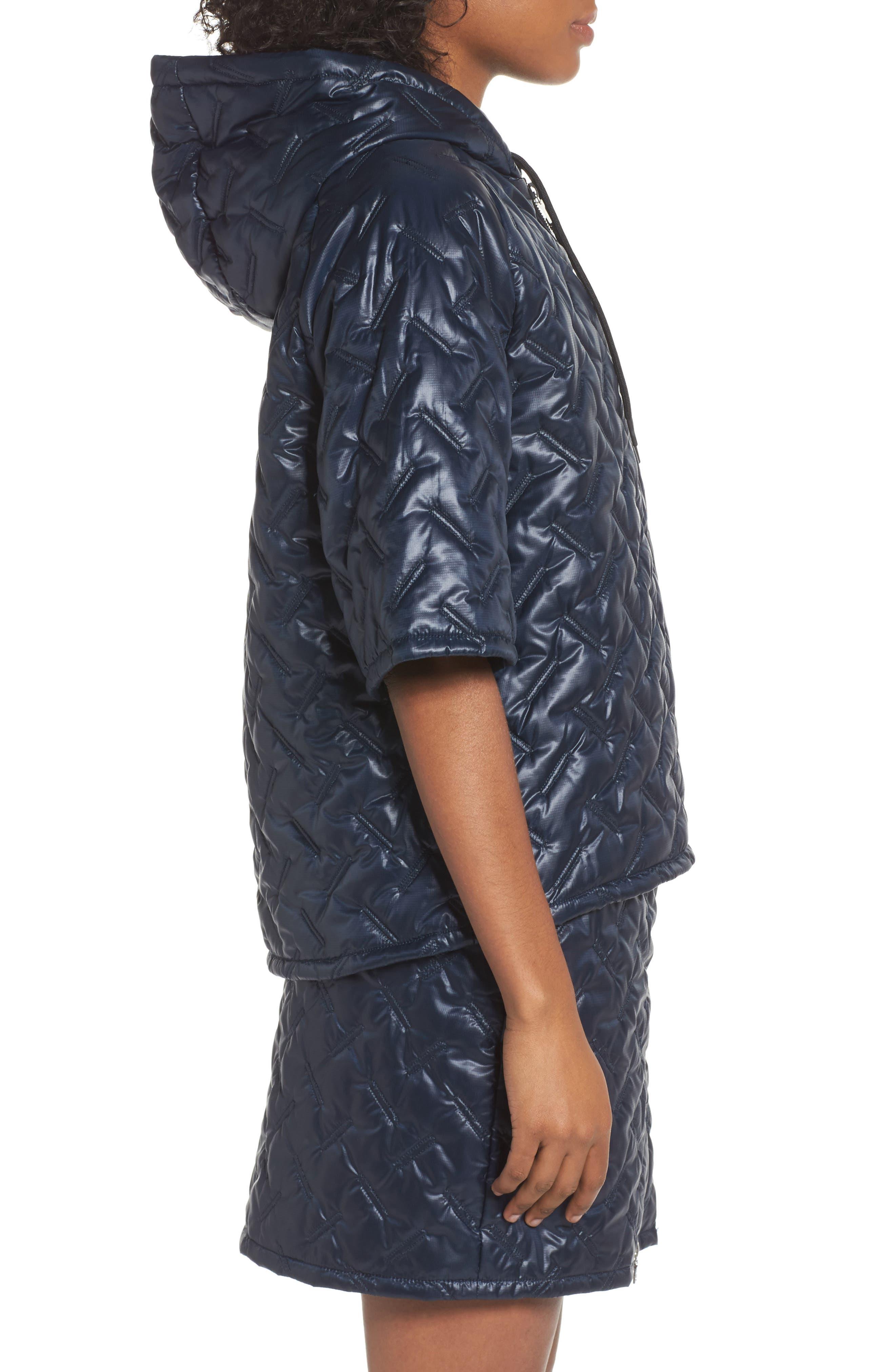 NikeLab Essentials Insulated Short Sleeve Women's Hoodie,                             Alternate thumbnail 3, color,                             Dark Obsidian/ Black
