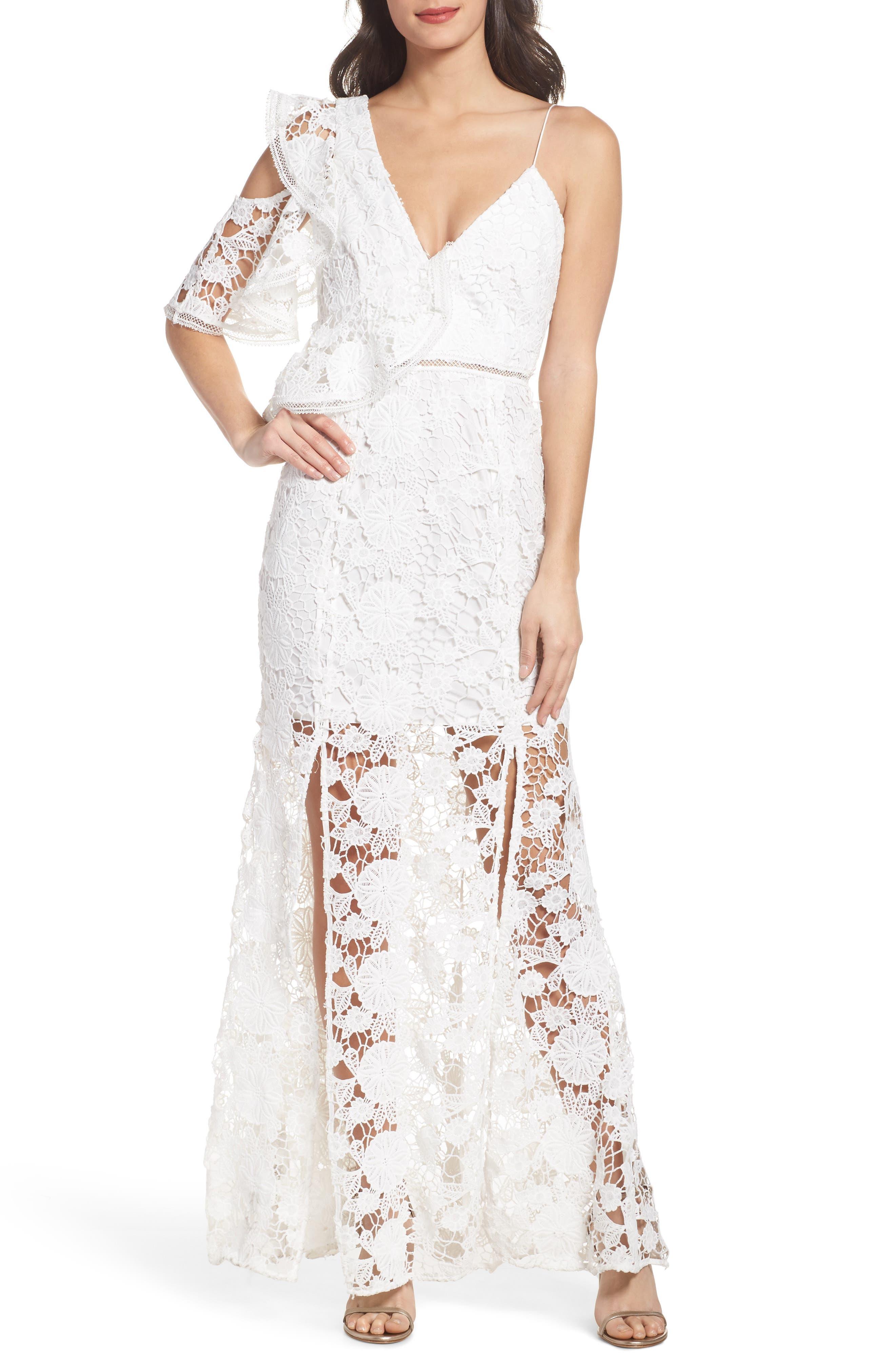 Frameless Ruffle Crochet Gown,                         Main,                         color, Ivory