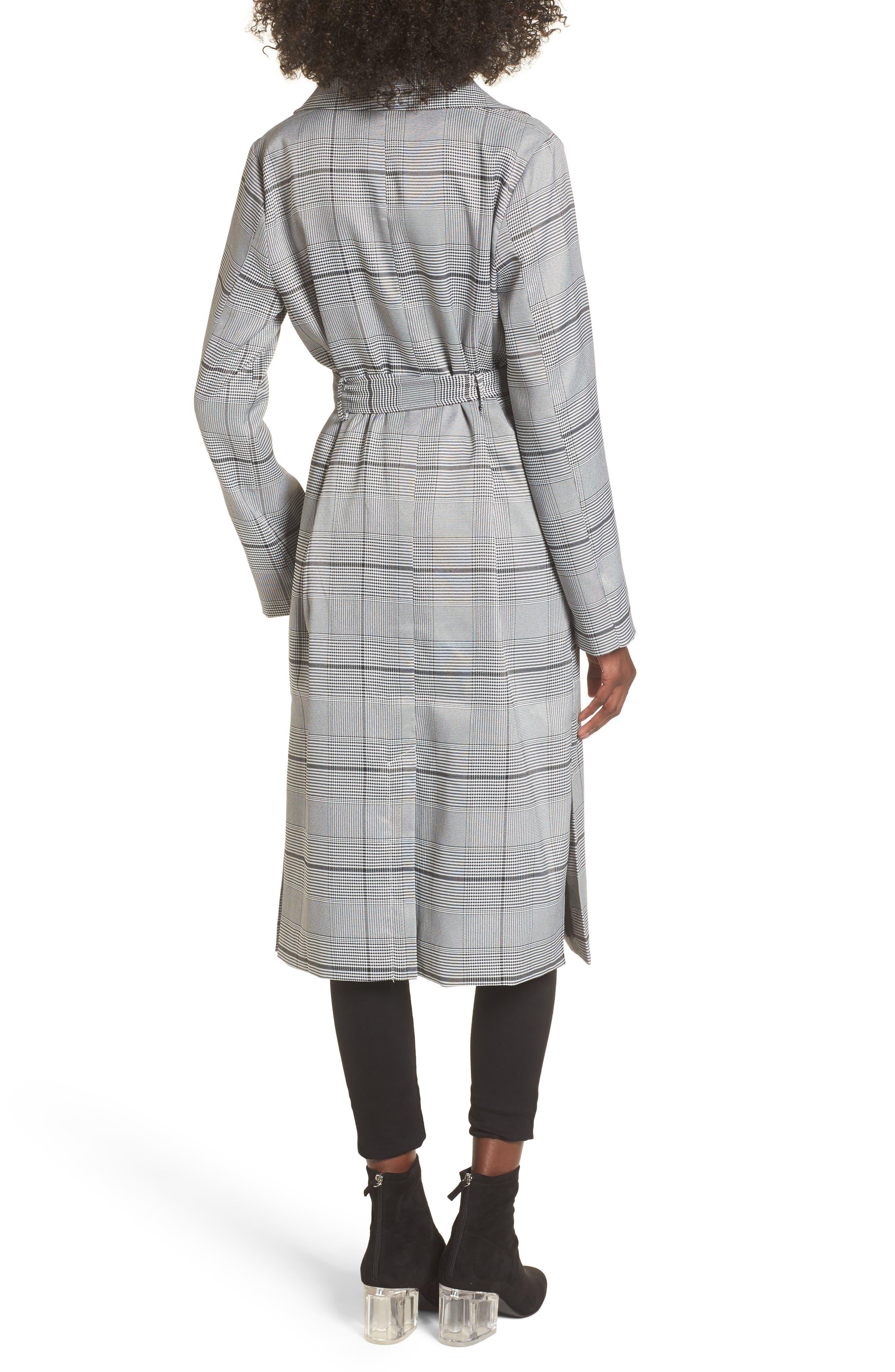 Plaid Menswear Coat,                             Alternate thumbnail 2, color,                             Black Plaid