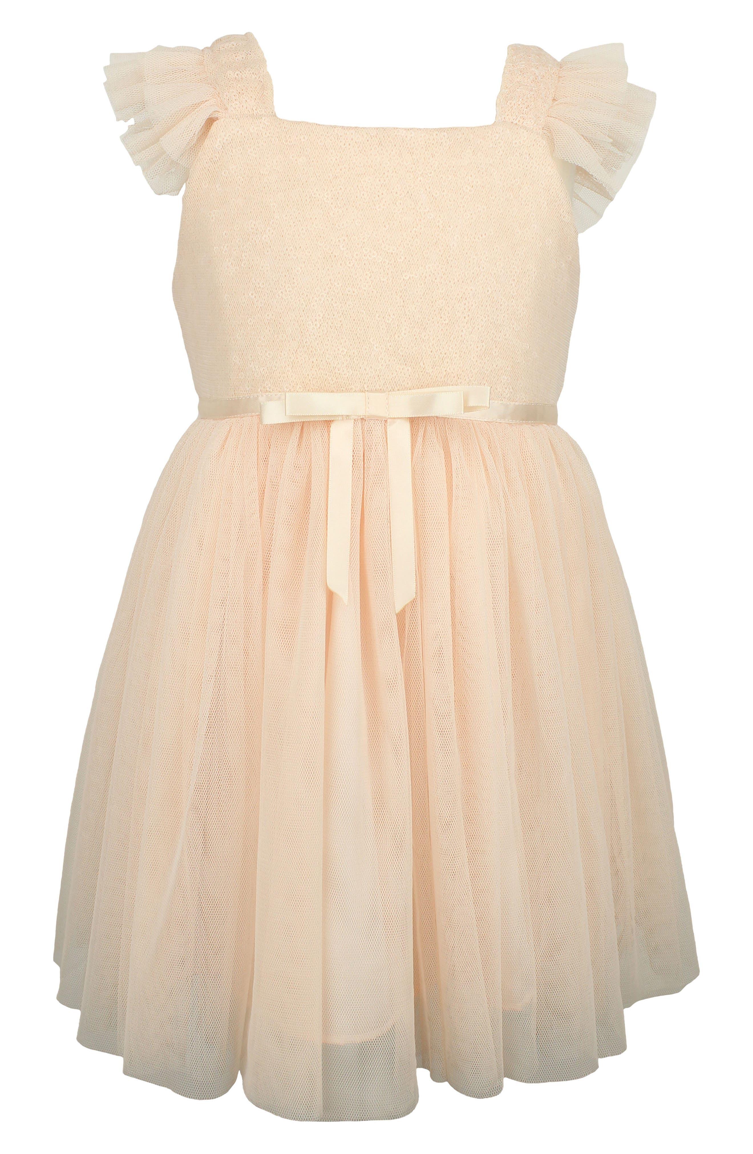 Sequin Bodice Tulle Dress,                         Main,                         color, Rose