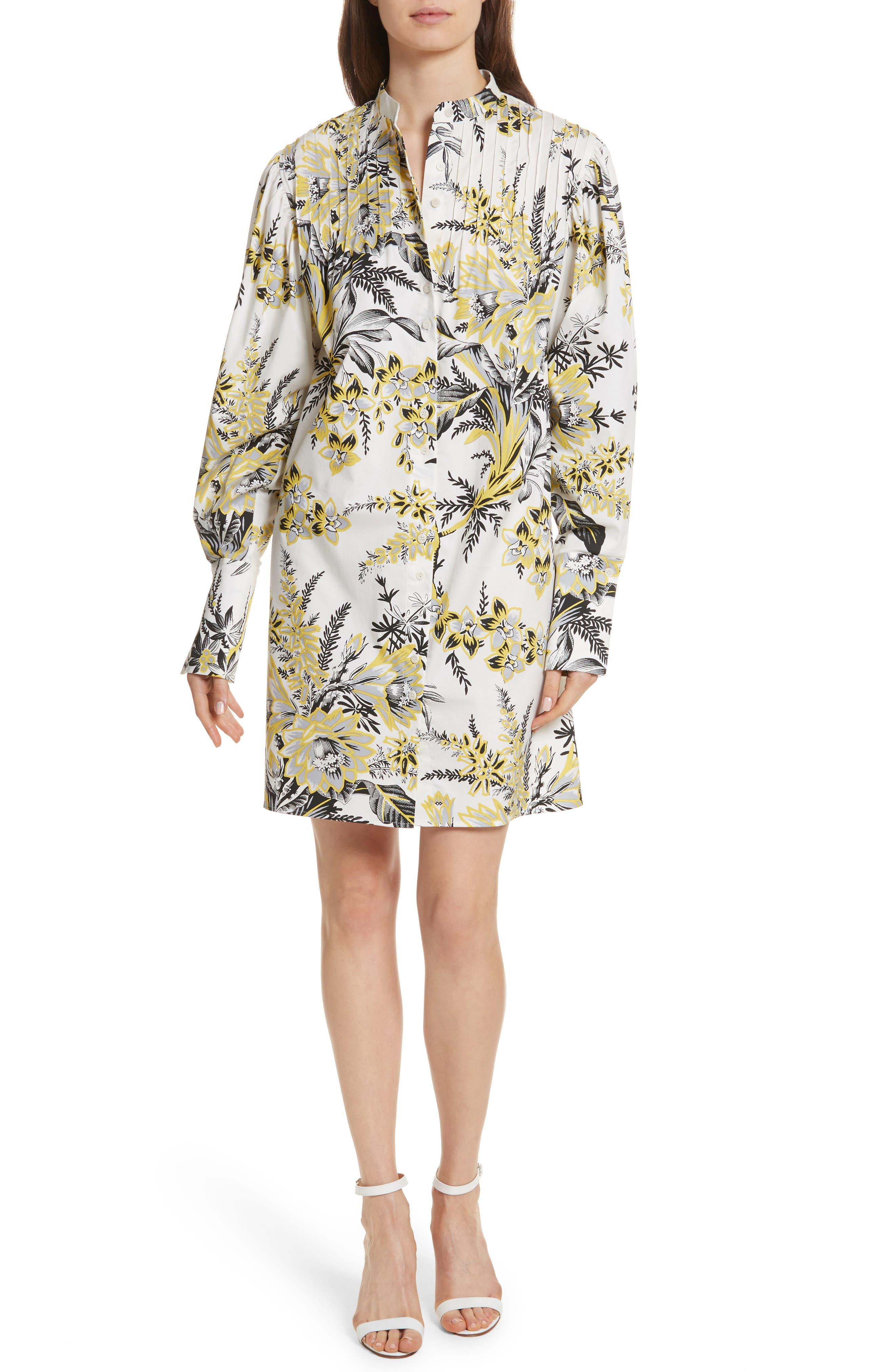 Diane von Furstenberg Pintuck Shirtdress,                         Main,                         color, Avalon Ivory
