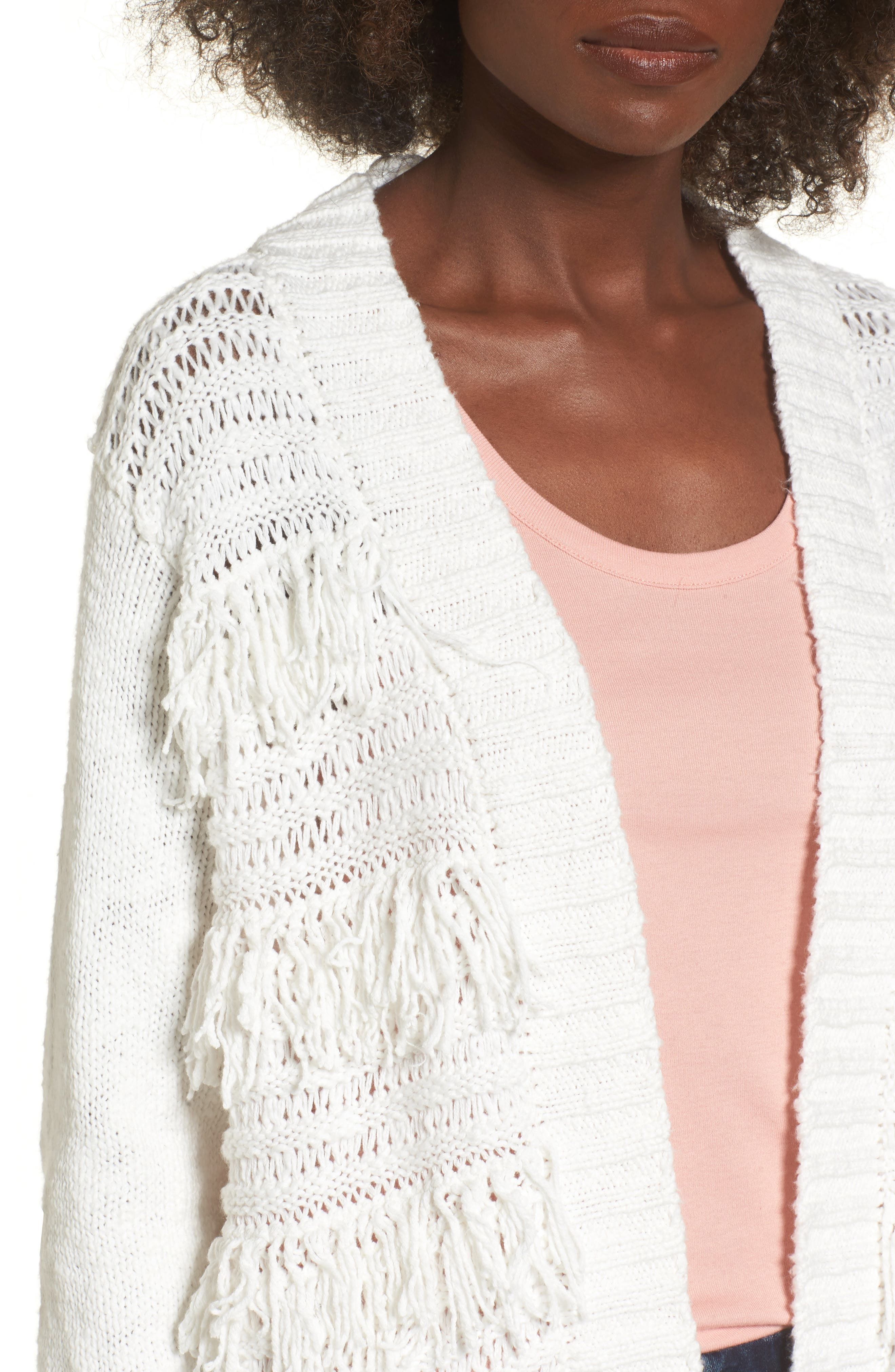 Open Cardigan,                             Alternate thumbnail 2, color,                             On The Prowl/ Ivory